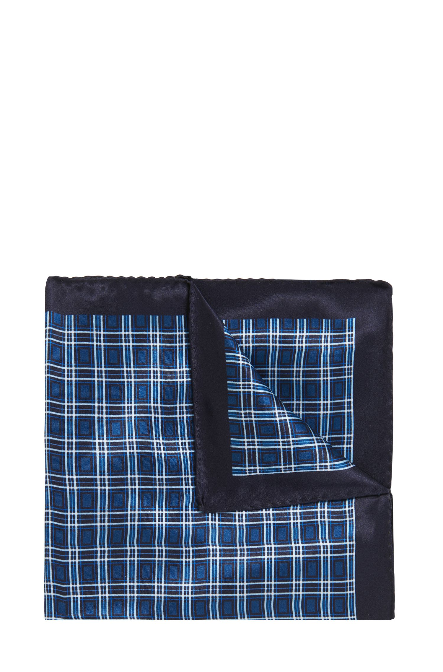 Italian-made silk pocket square with plain check, Dark Blue