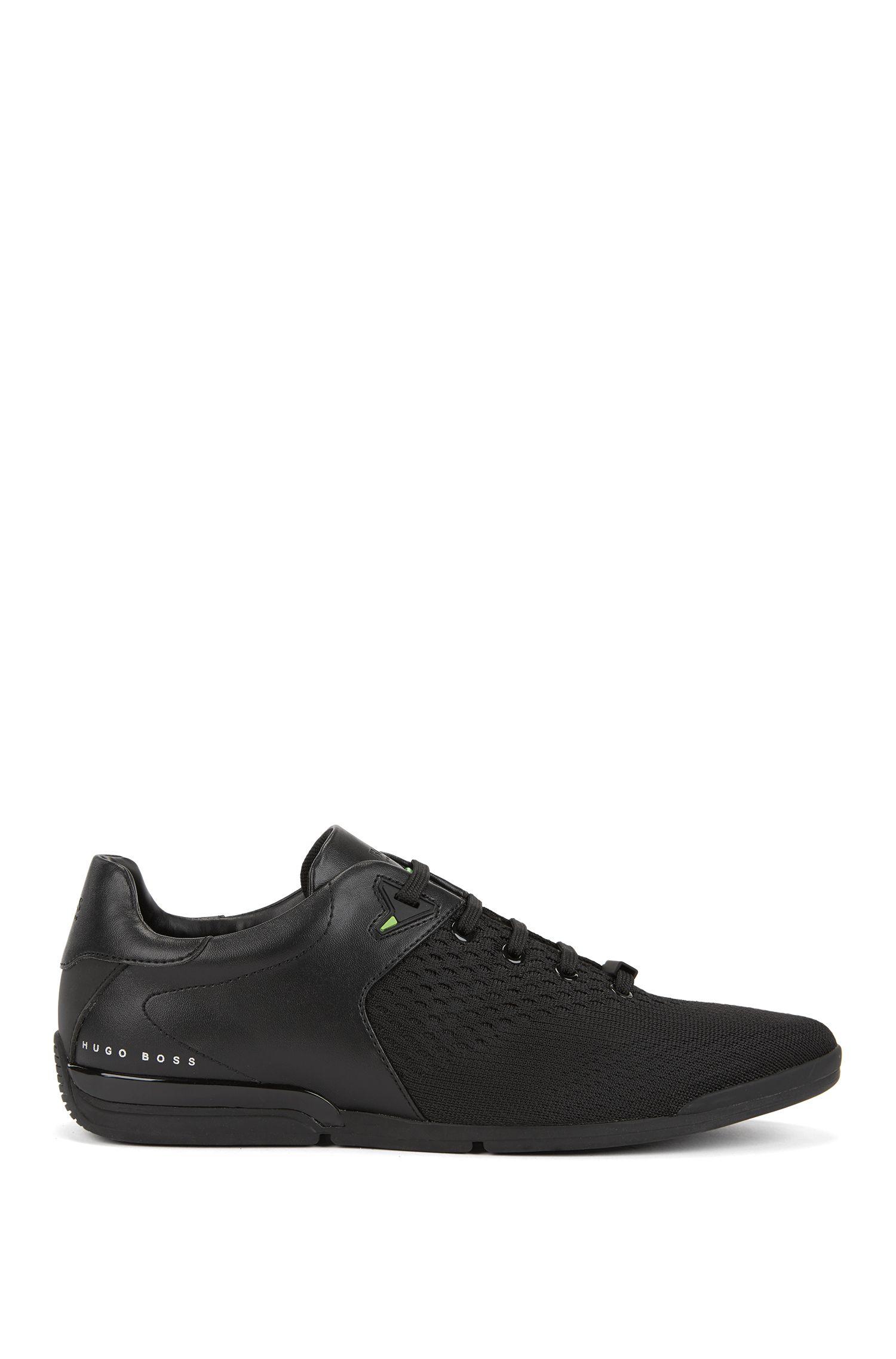 Sneakers basse con tomaia in maglia jacquard, Nero