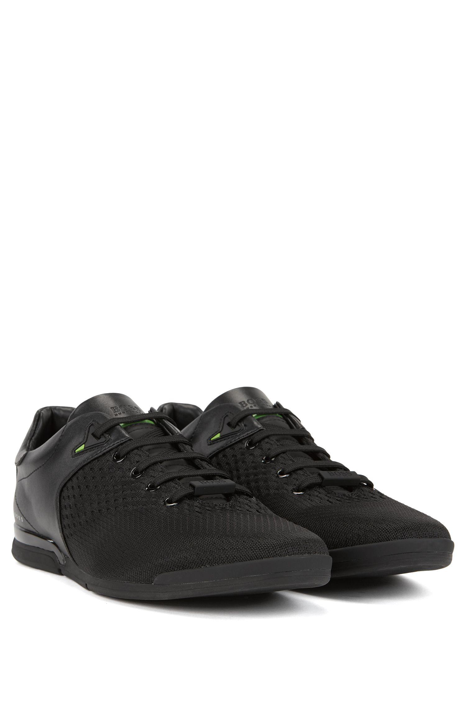 Lowtop Sneakers aus Jacquard-Strick, Schwarz