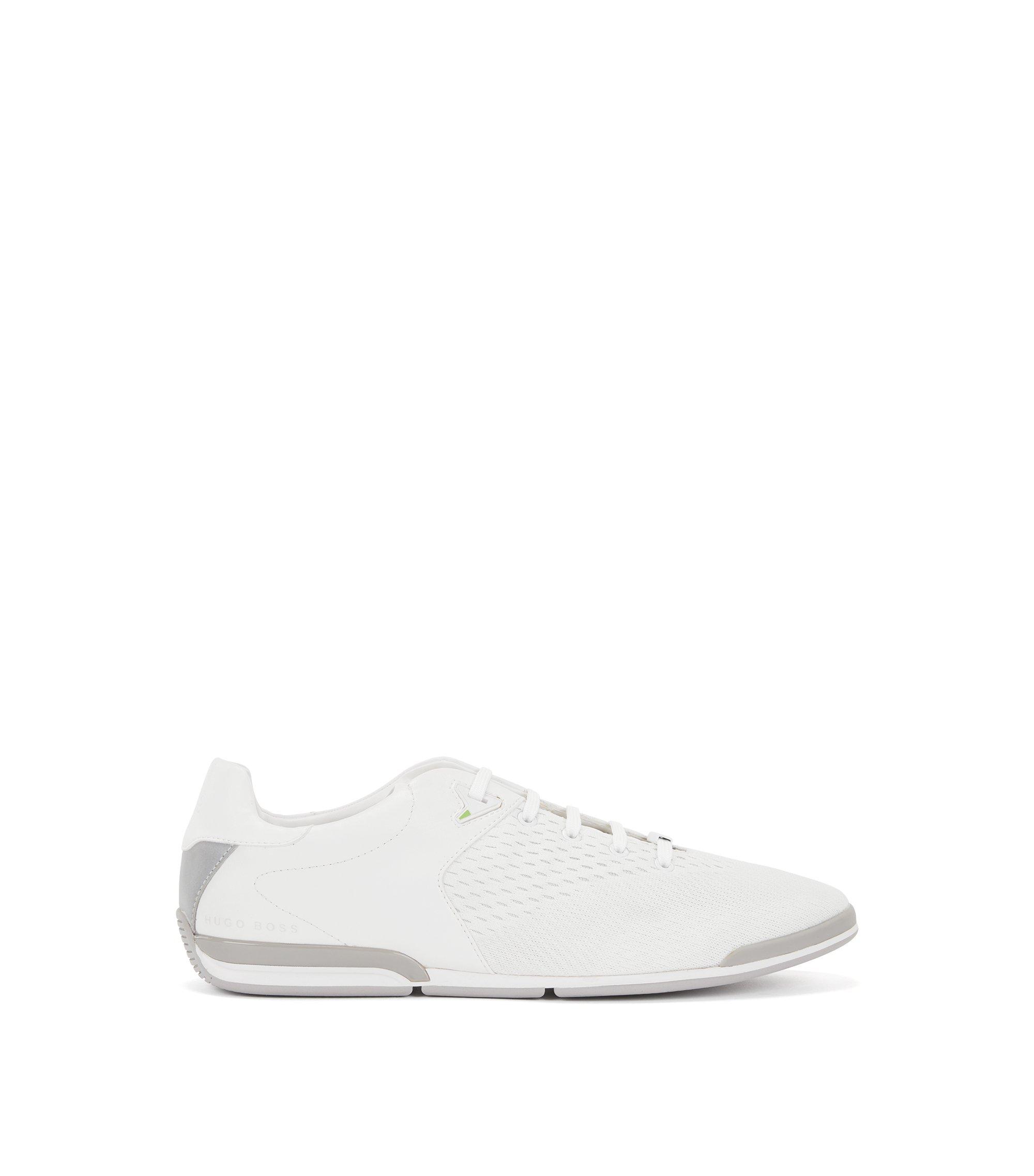 Lage sneakers met bovenzijde in jacquard, Wit
