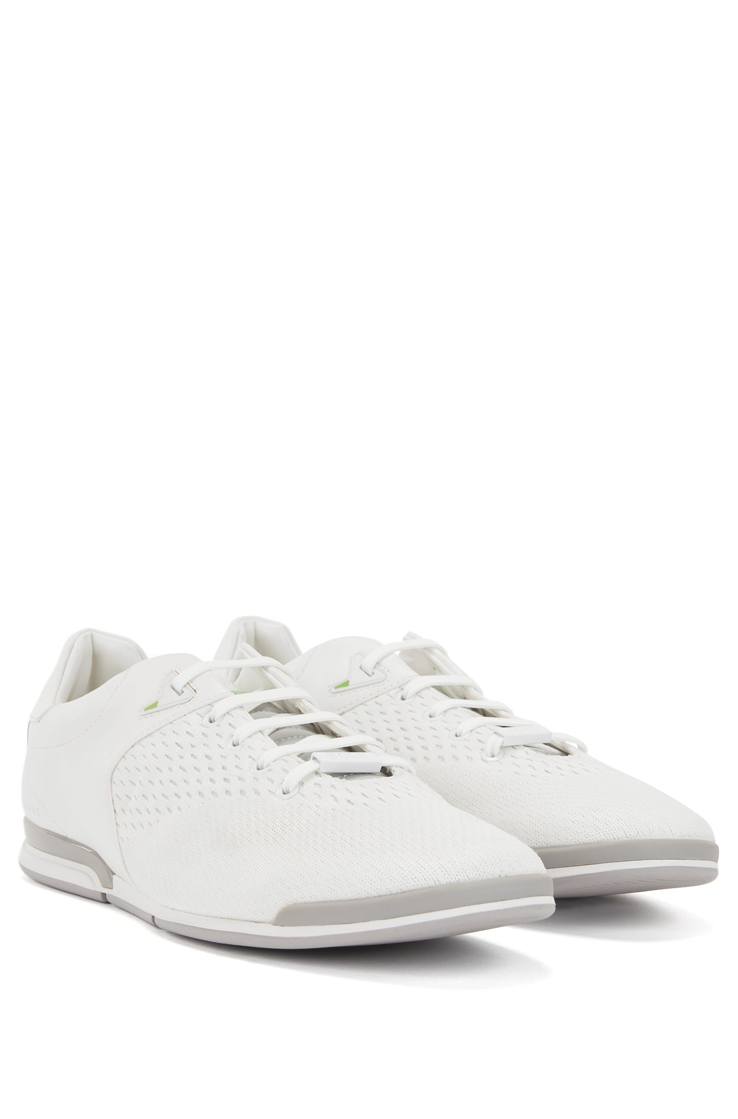 Low-profile trainers with jacquard-knit uppers, White