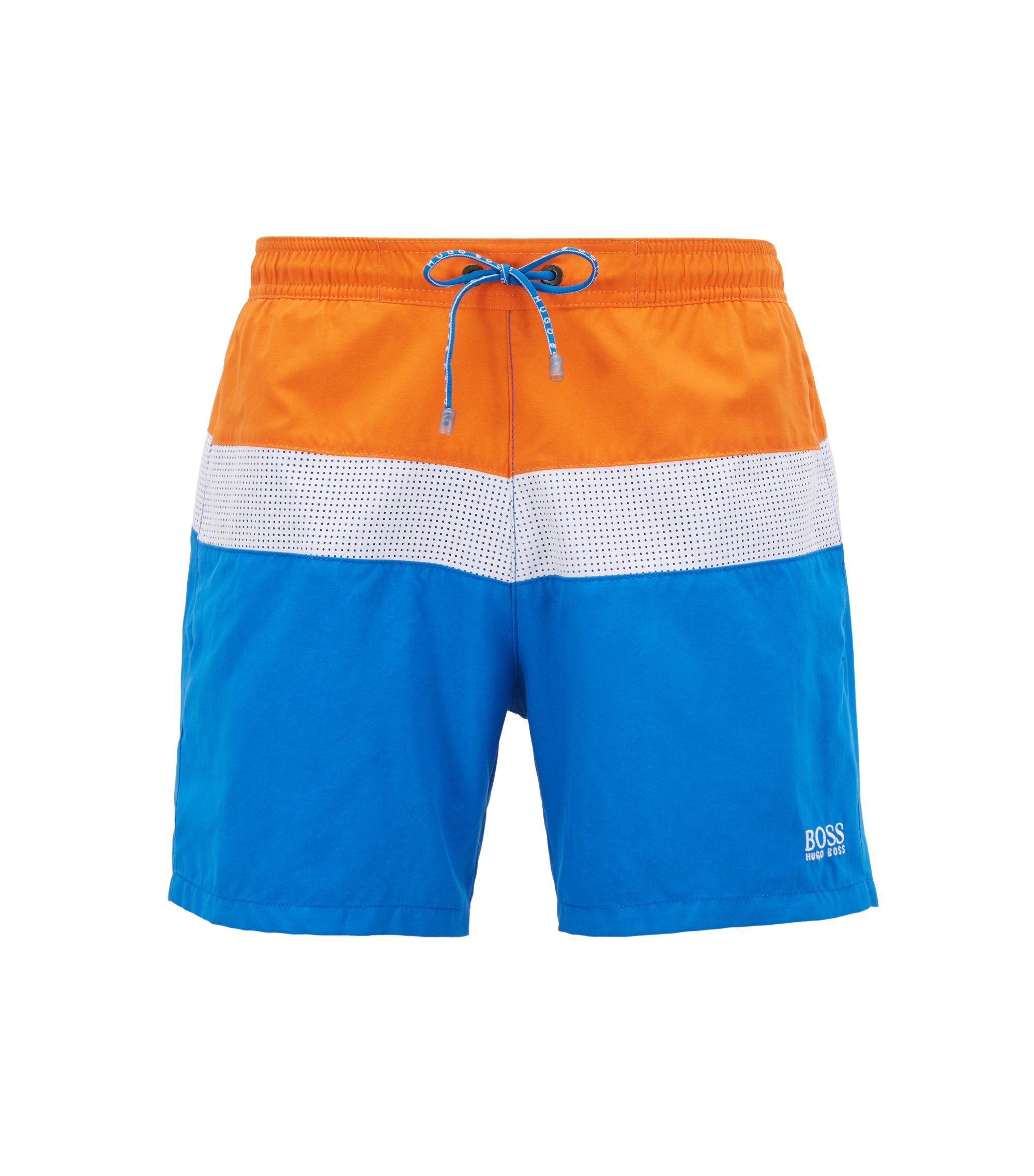 Colourblock swim shorts with laser-cut insert, Dark Blue