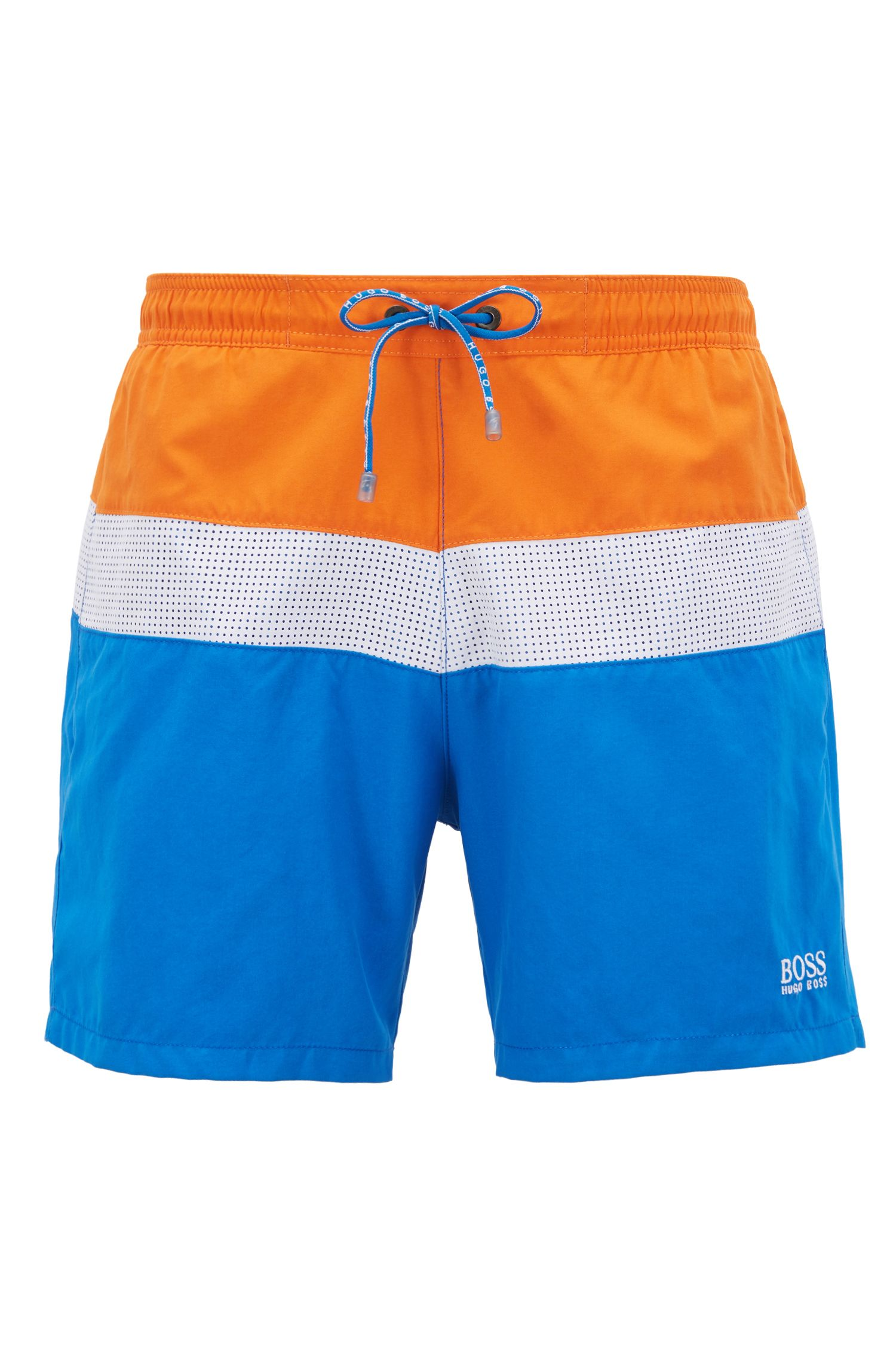 Colourblock swim shorts with laser-cut insert, Dark Blue