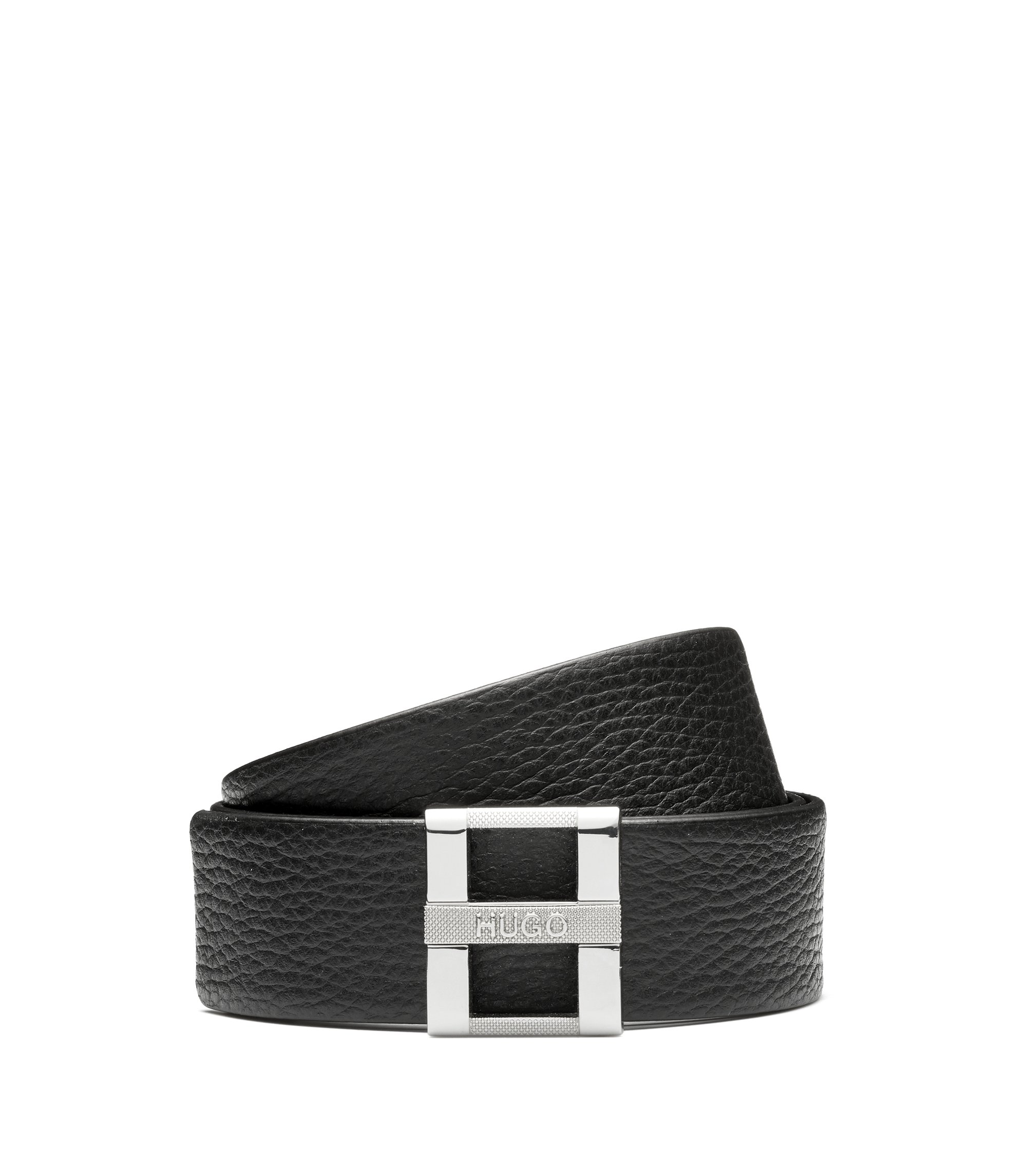 Belt in grained leather with signature metal buckle, Black