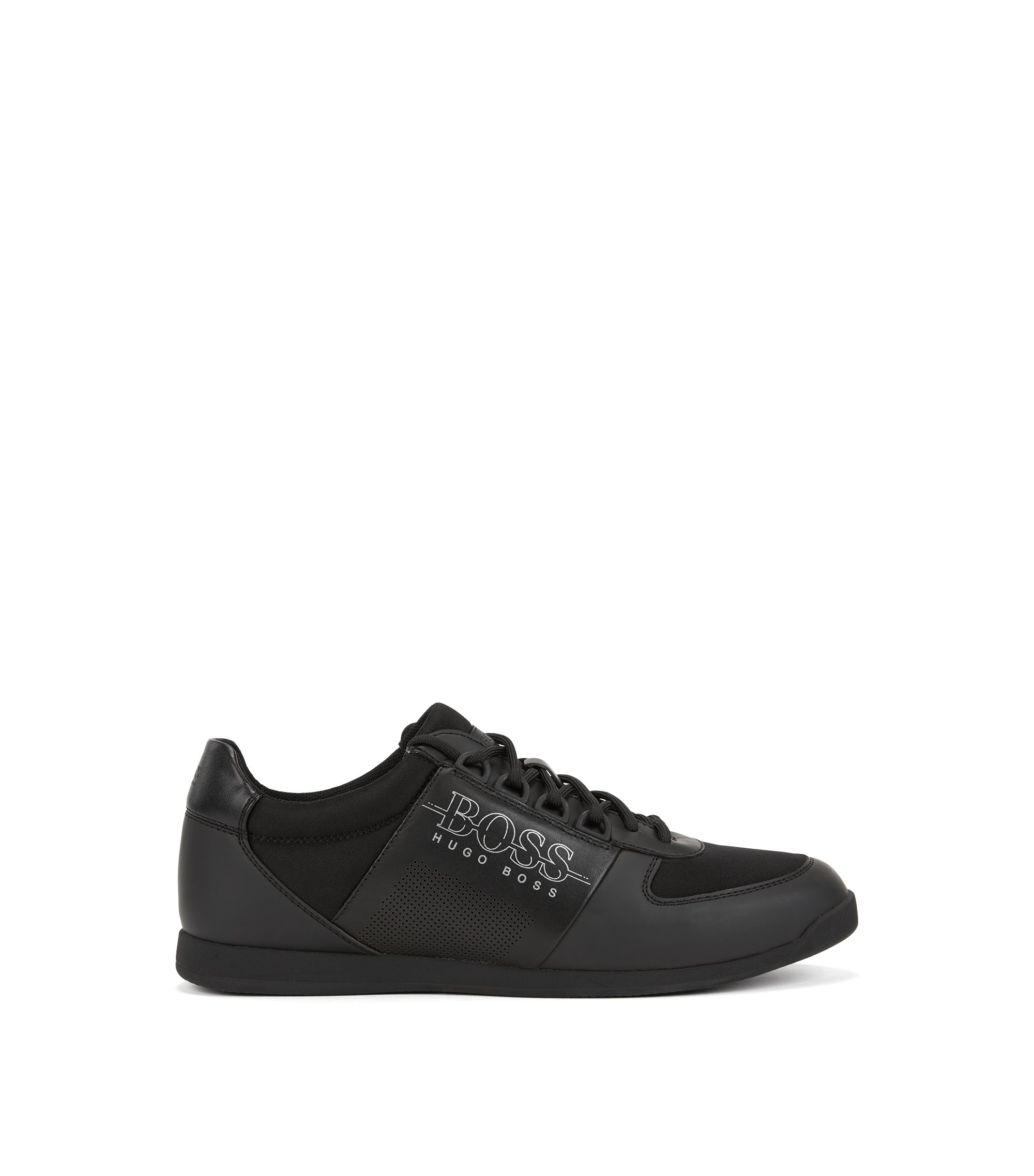 Low-profile trainers in neoprene and technical fabric, Black