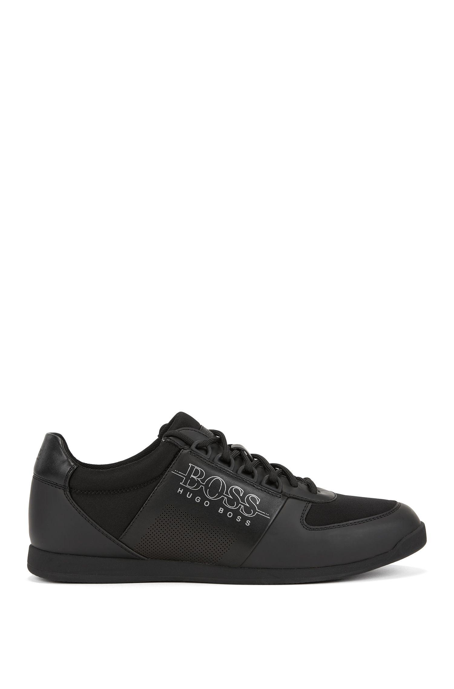 Lage sneakers van neopreen en technisch materiaal, Zwart