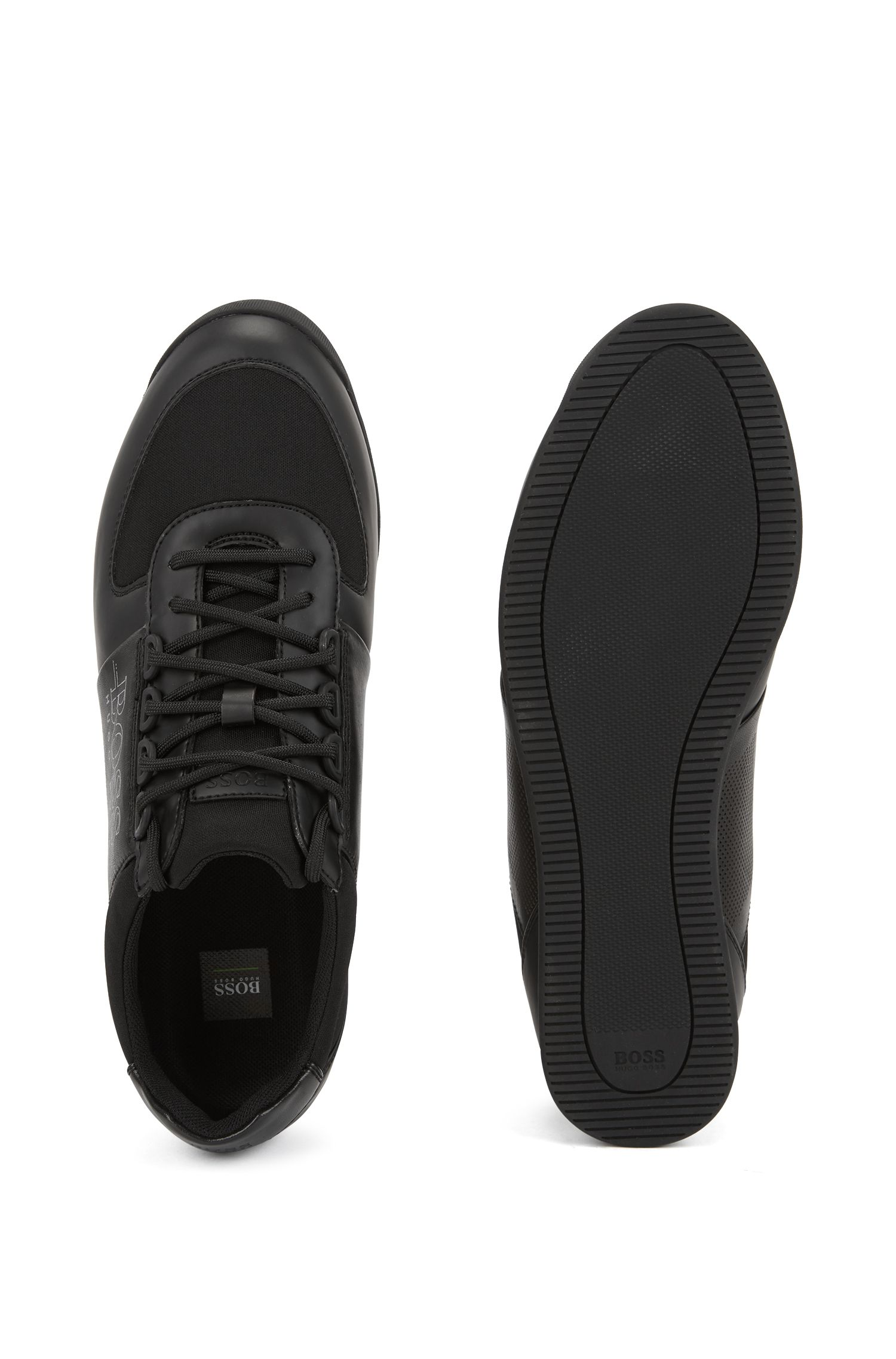 Lowtop Sneakers aus Neopren und Material-Mix, Schwarz