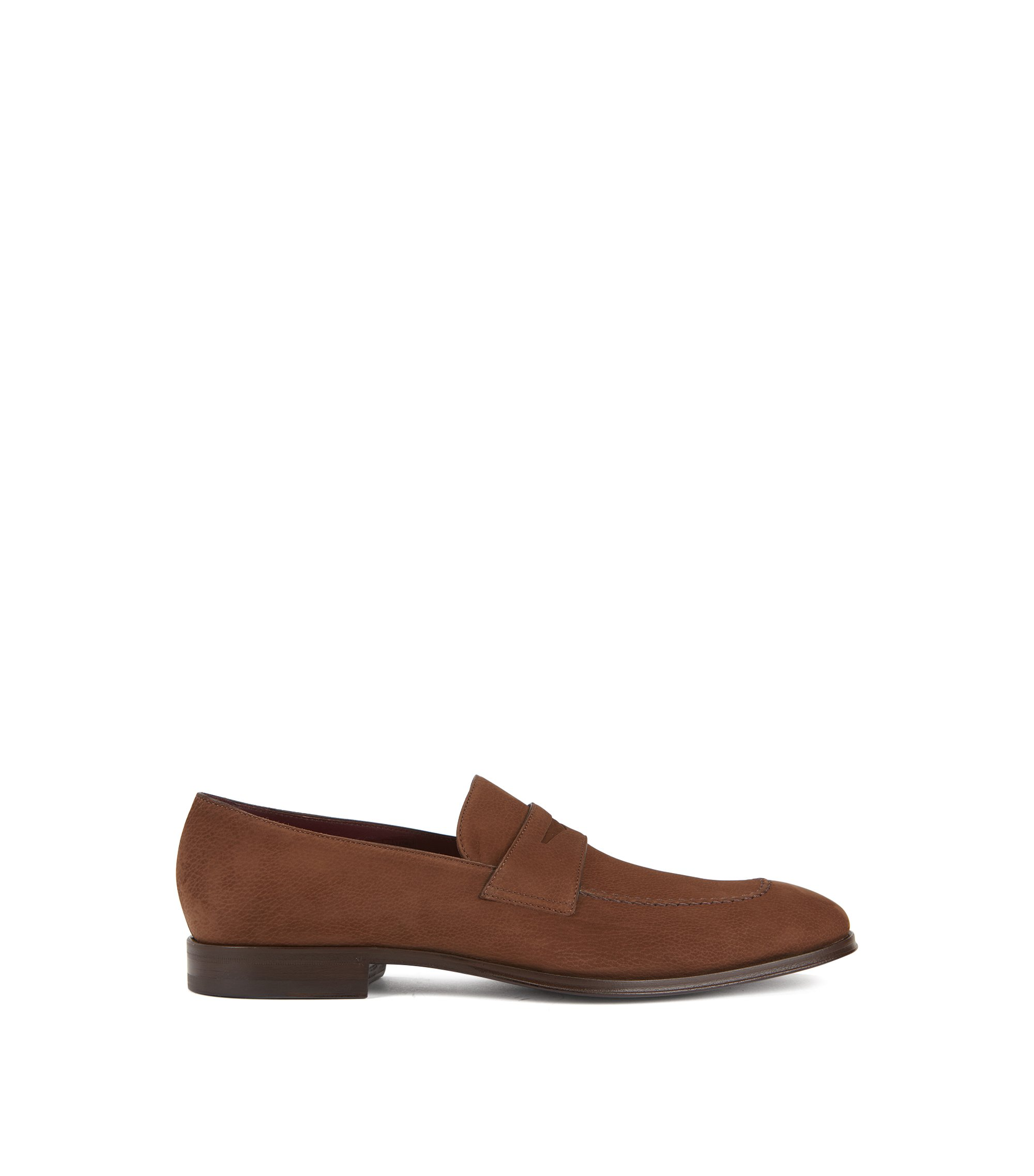 Penny loafers in nubuck calf leather, Brown