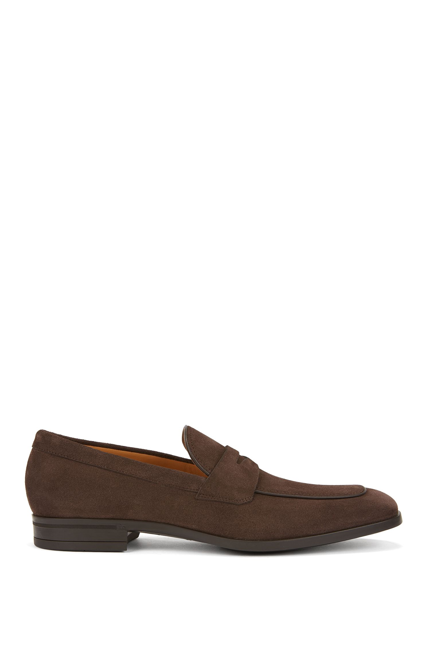 Italian-made penny loafers in soft suede, Dark Brown