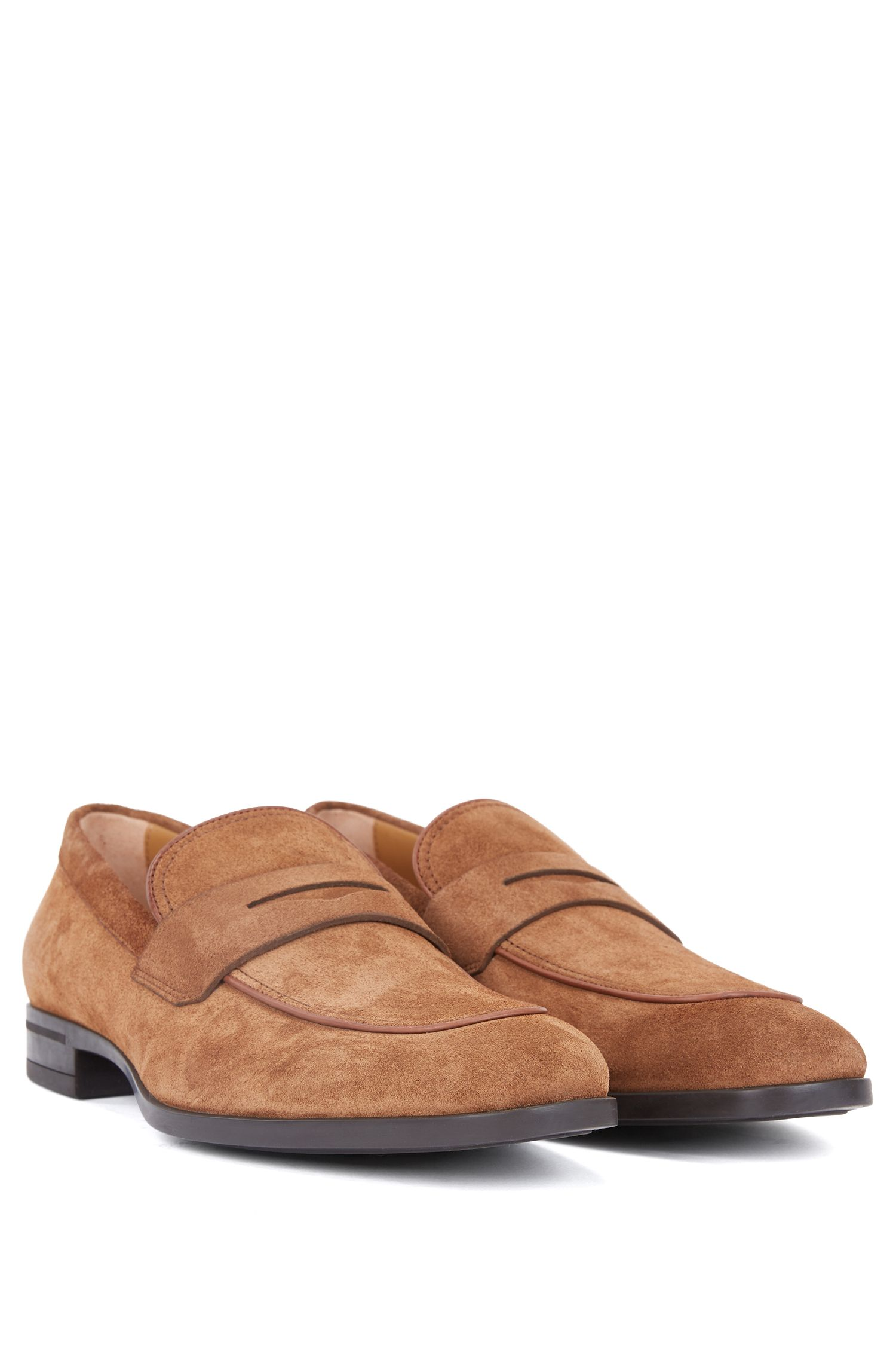 Italian-made penny loafers in soft suede