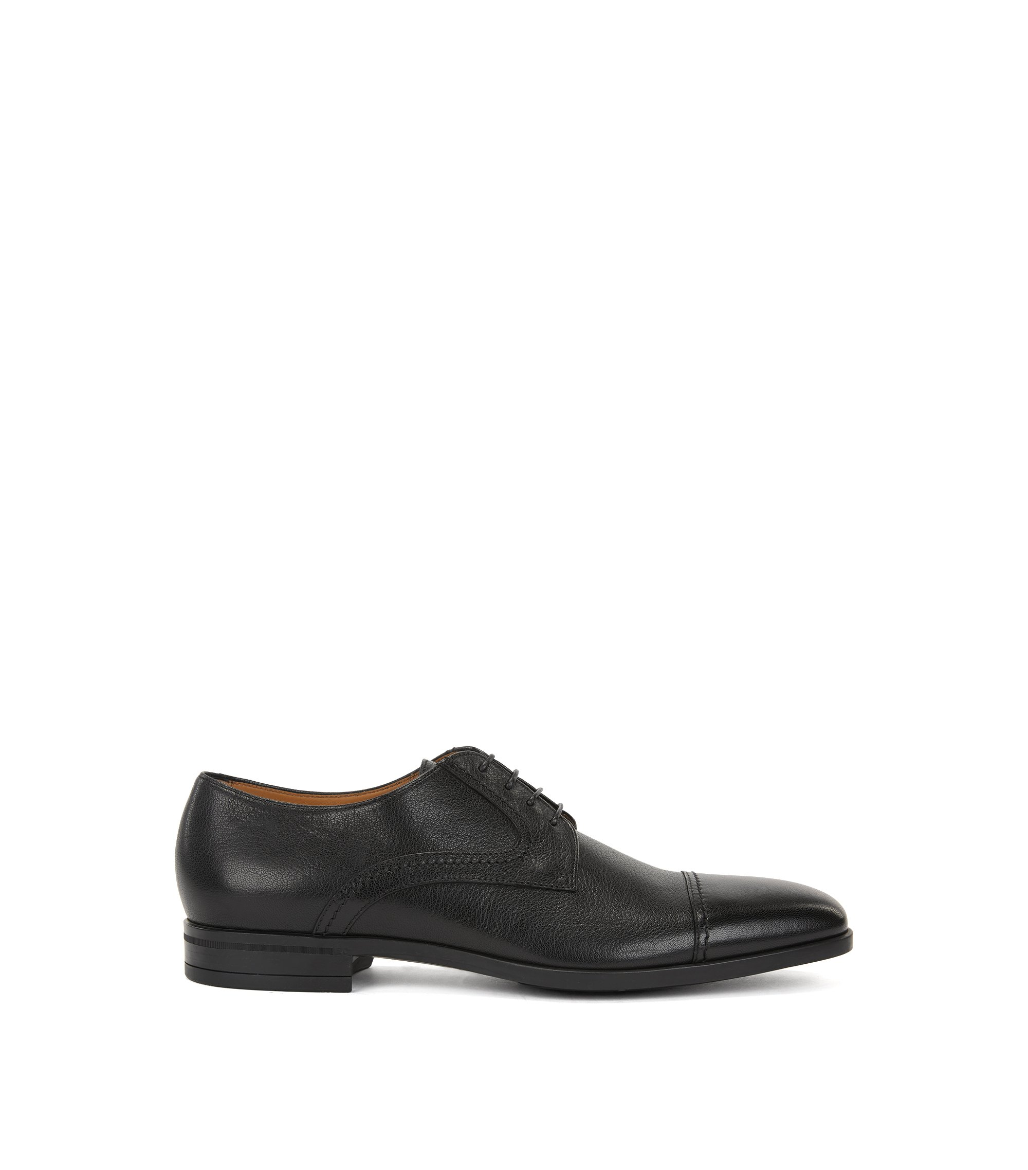 Tumbled leather Derby shoes with double stitching detail, Black