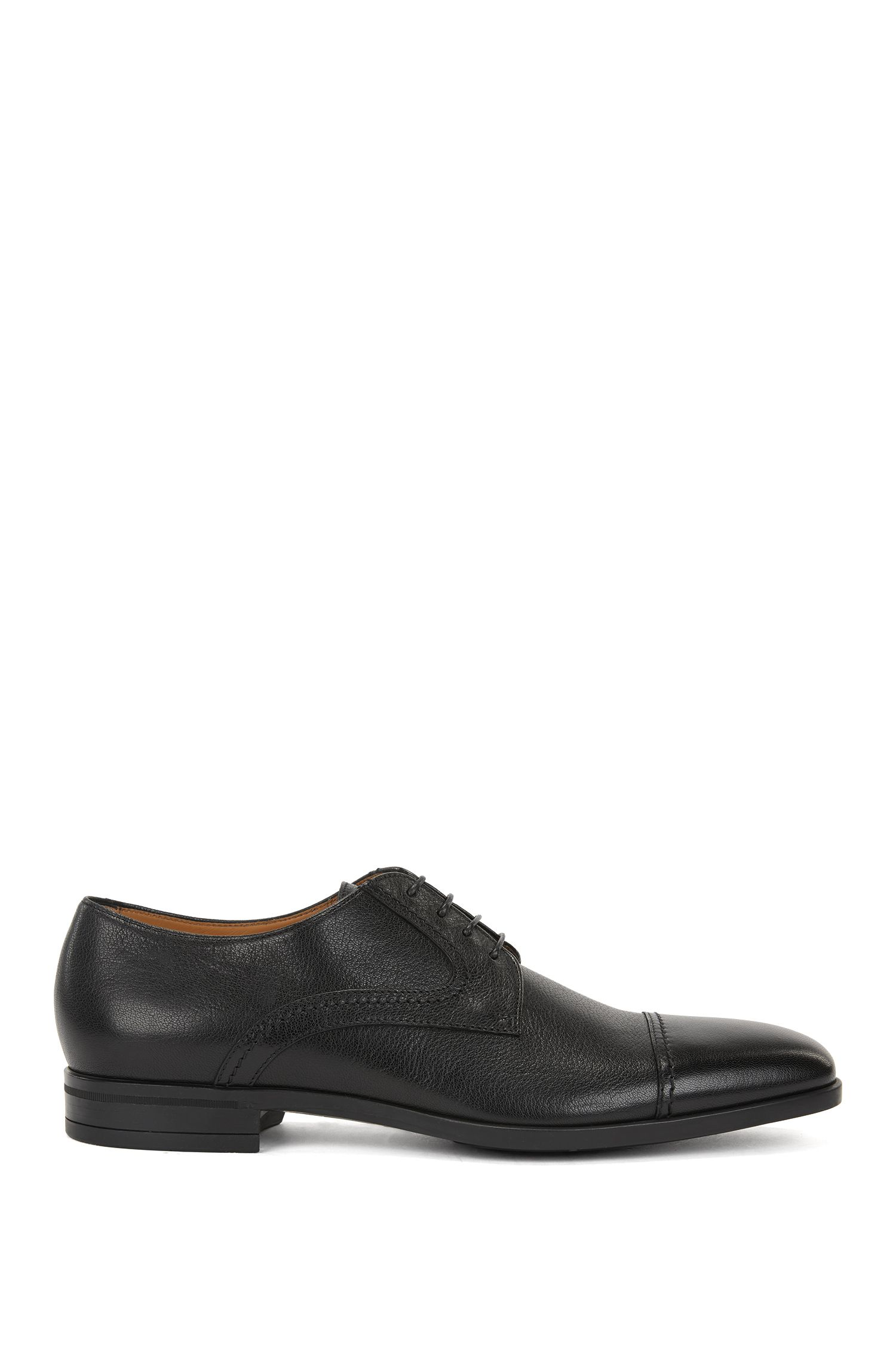 Tumbled leather Derby shoes with double stitching detail