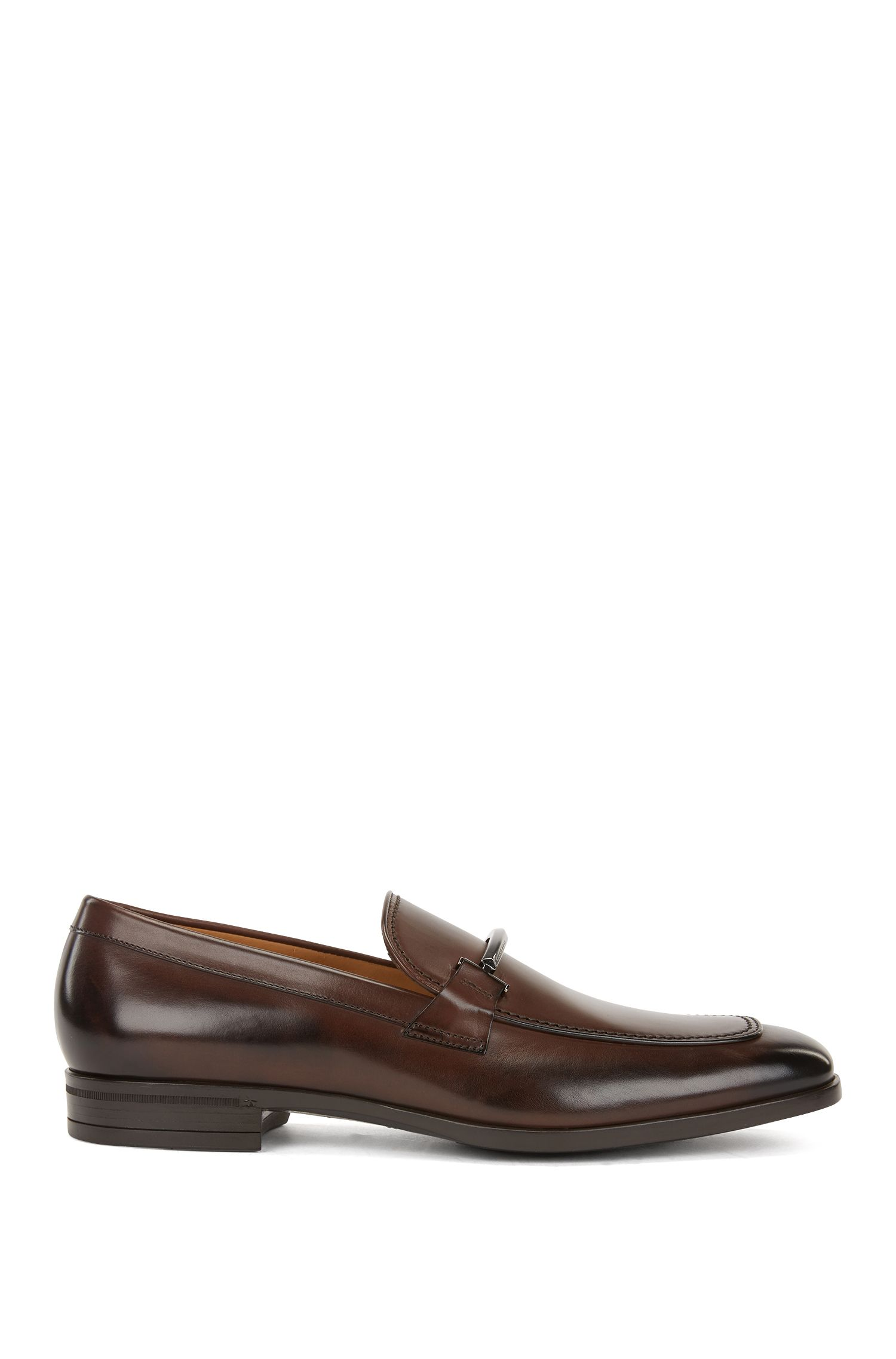 Italian-made loafers in burnished calf leather, Dark Brown