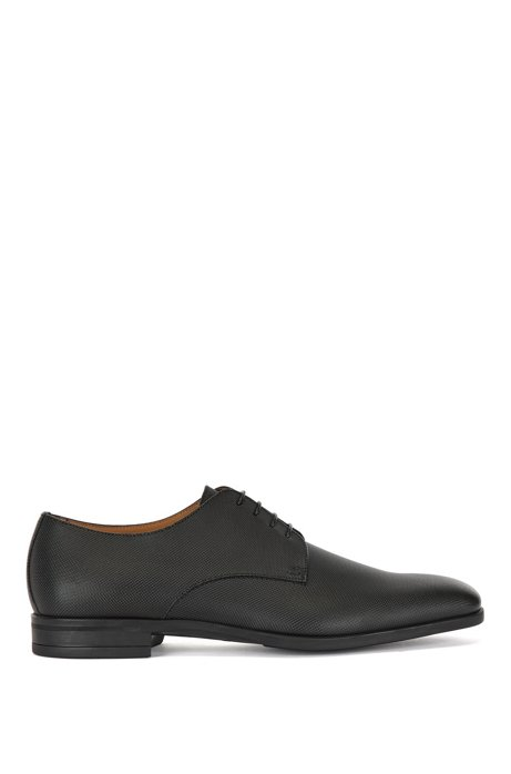 Italian-made Derby shoes in embossed leather, Black
