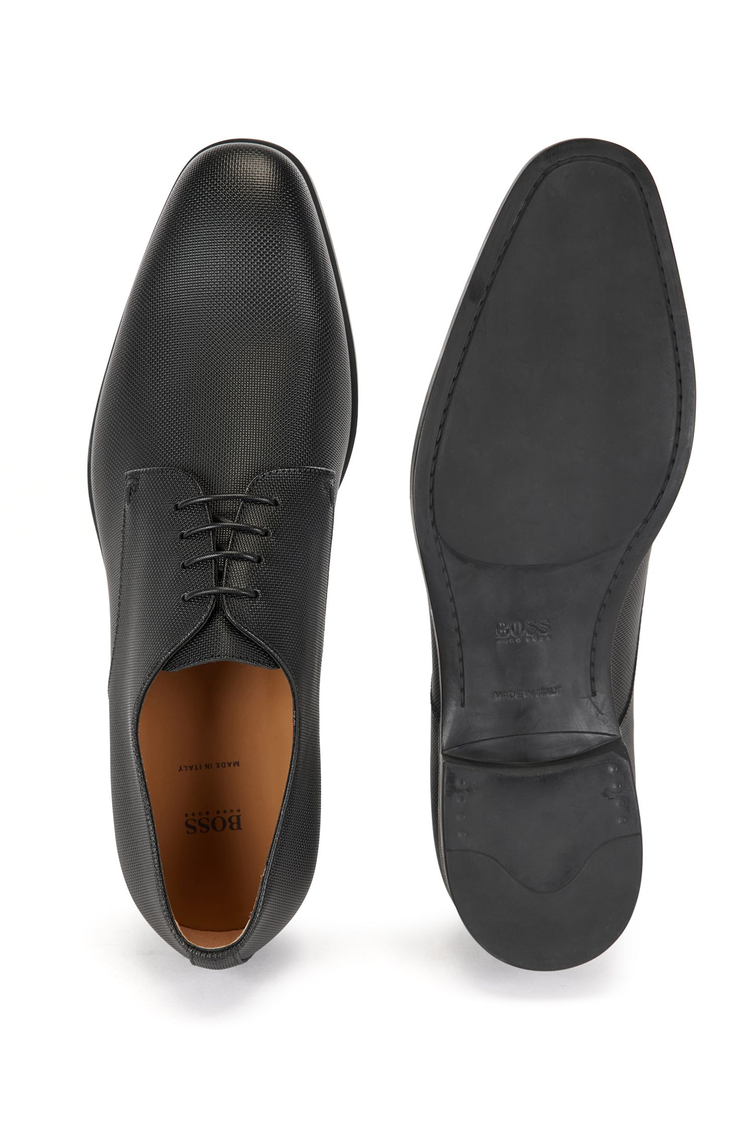 Italian-made Derby shoes in embossed calf leather, Black