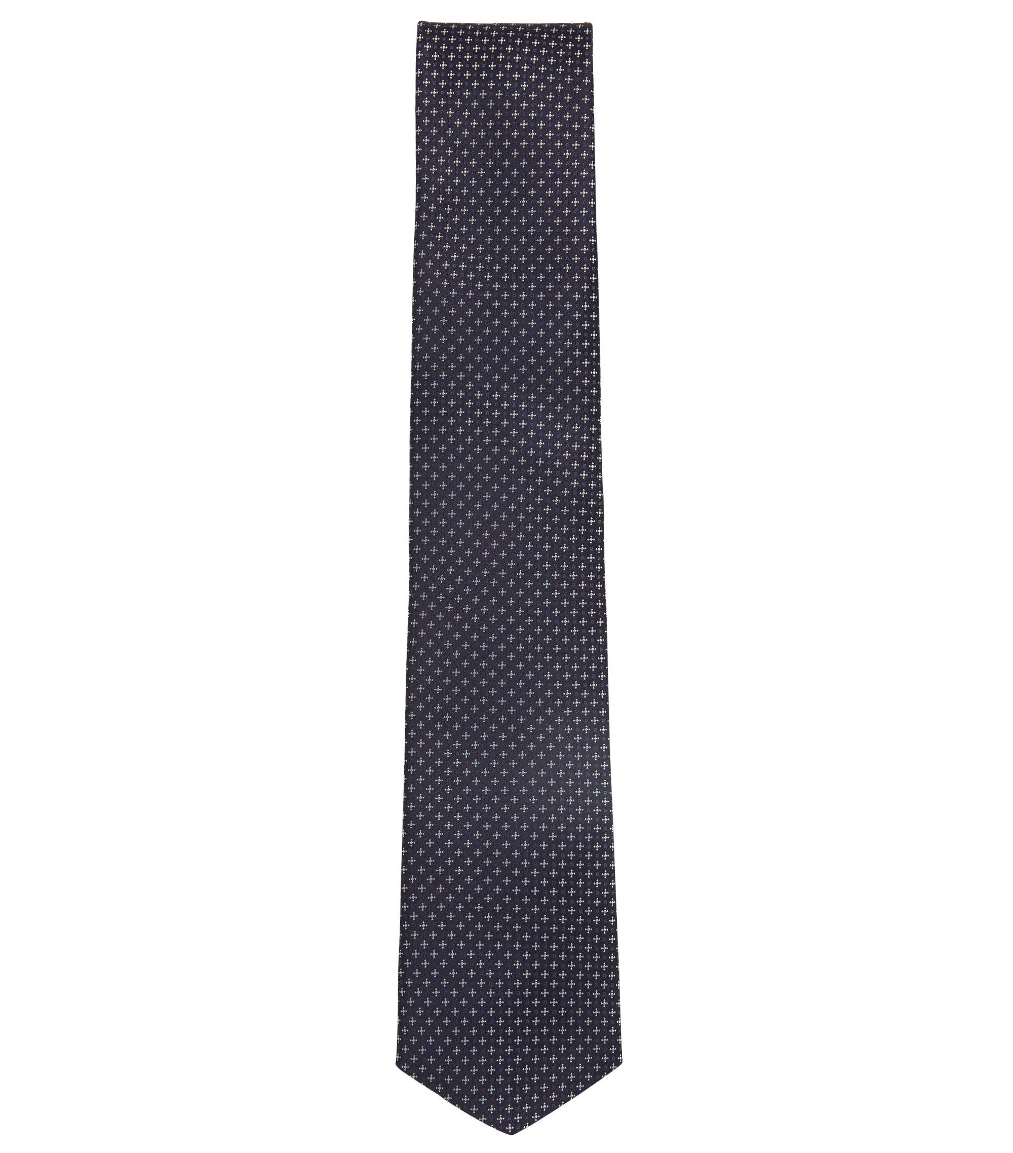 In Italië gemaakte stropdas van waterafstotende zijde met dessin, Lichtblauw