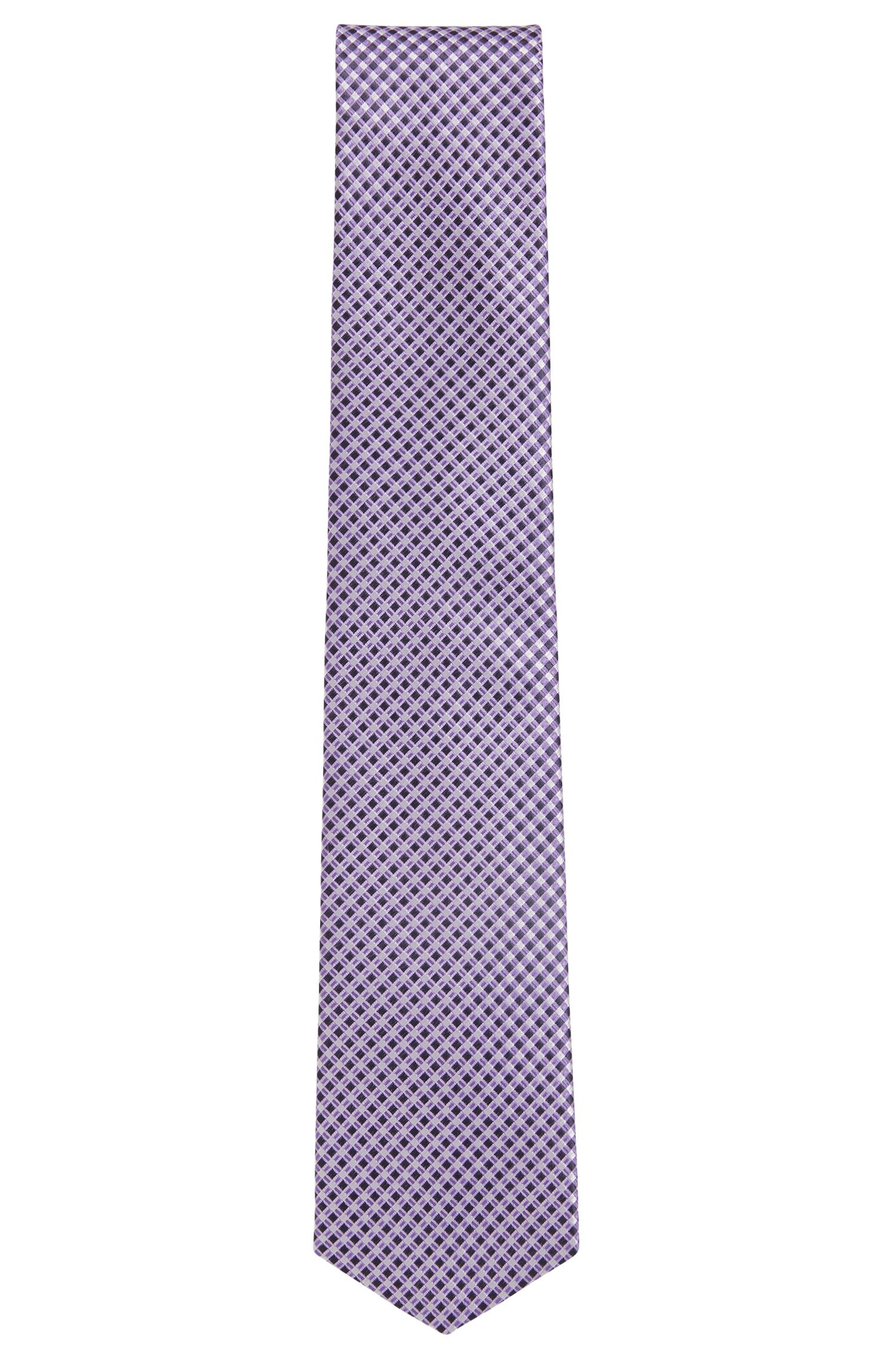 Italian-made patterned tie in water-repellent silk, Purple