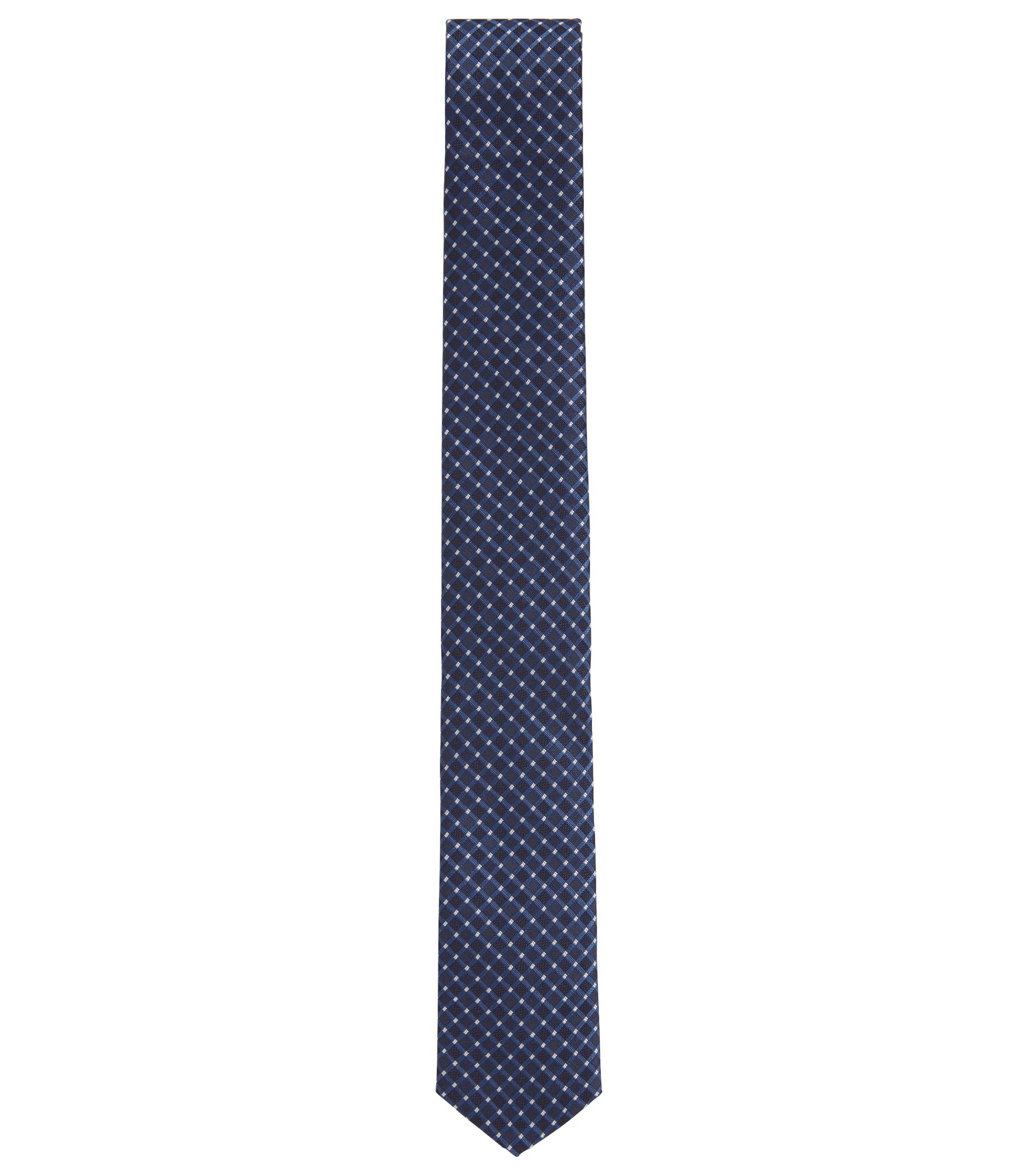 Slimline patterned tie in water-repellent silk jacquard, Open Blue