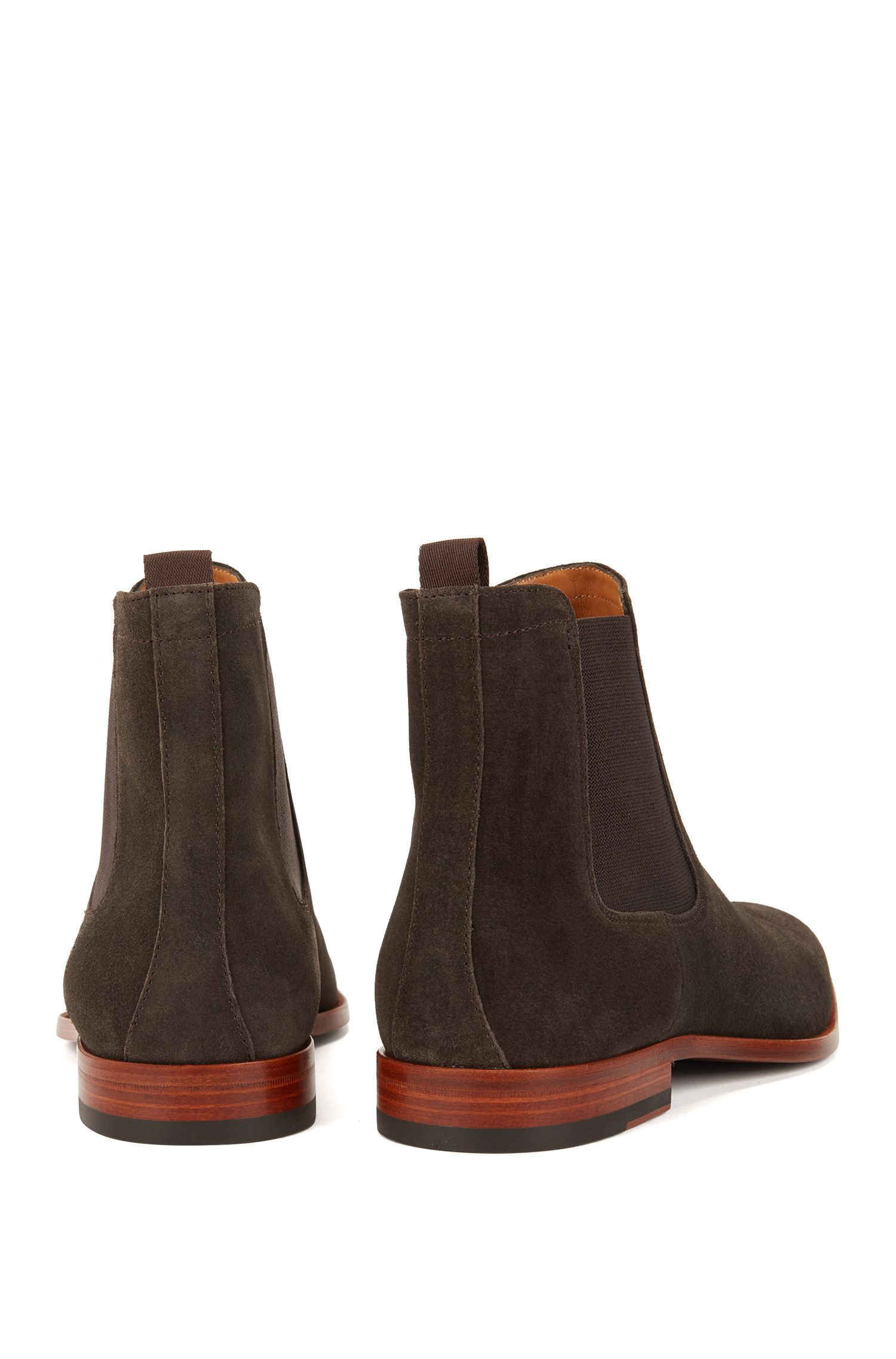 Italian-made Chelsea boots in soft suede, Dark Brown
