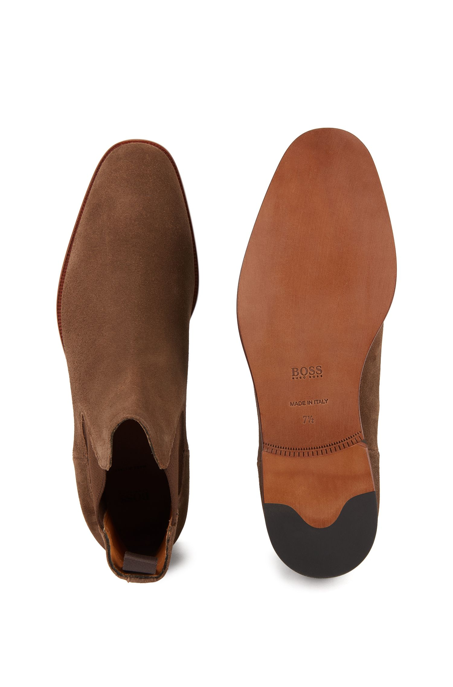 Italian-made Chelsea boots in soft suede