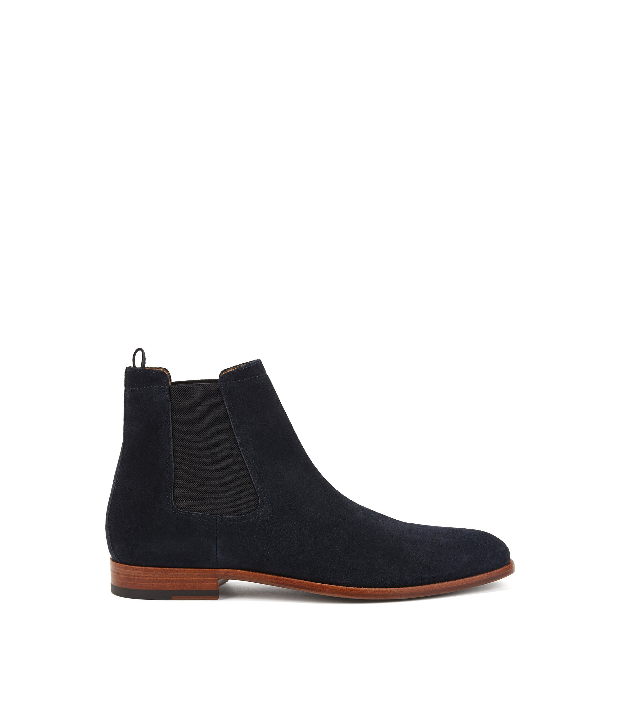 Lace-up suede boots with logo-print padded collar HUGO BOSS
