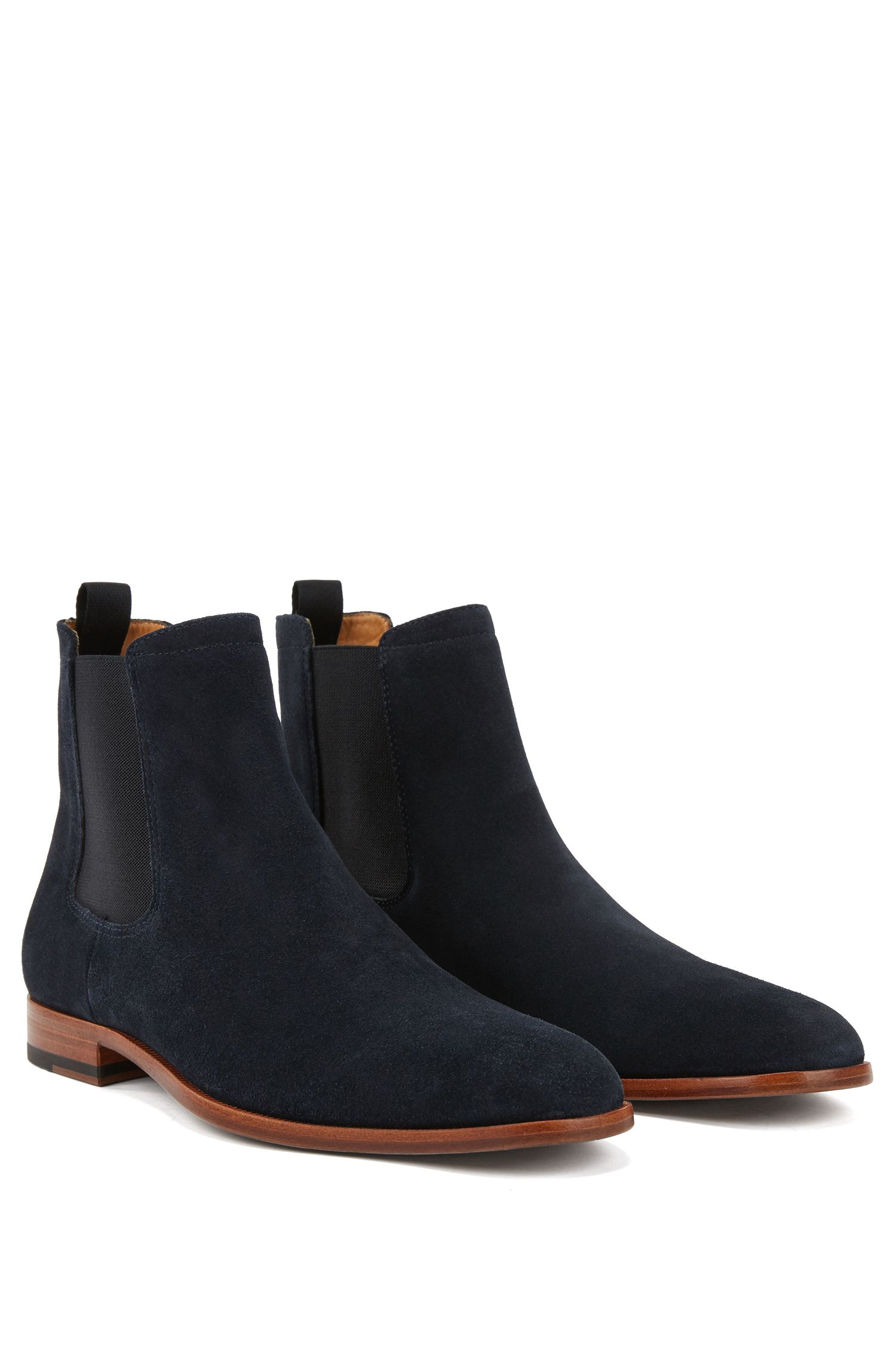 Italian-made Chelsea boots in soft suede, Dark Blue