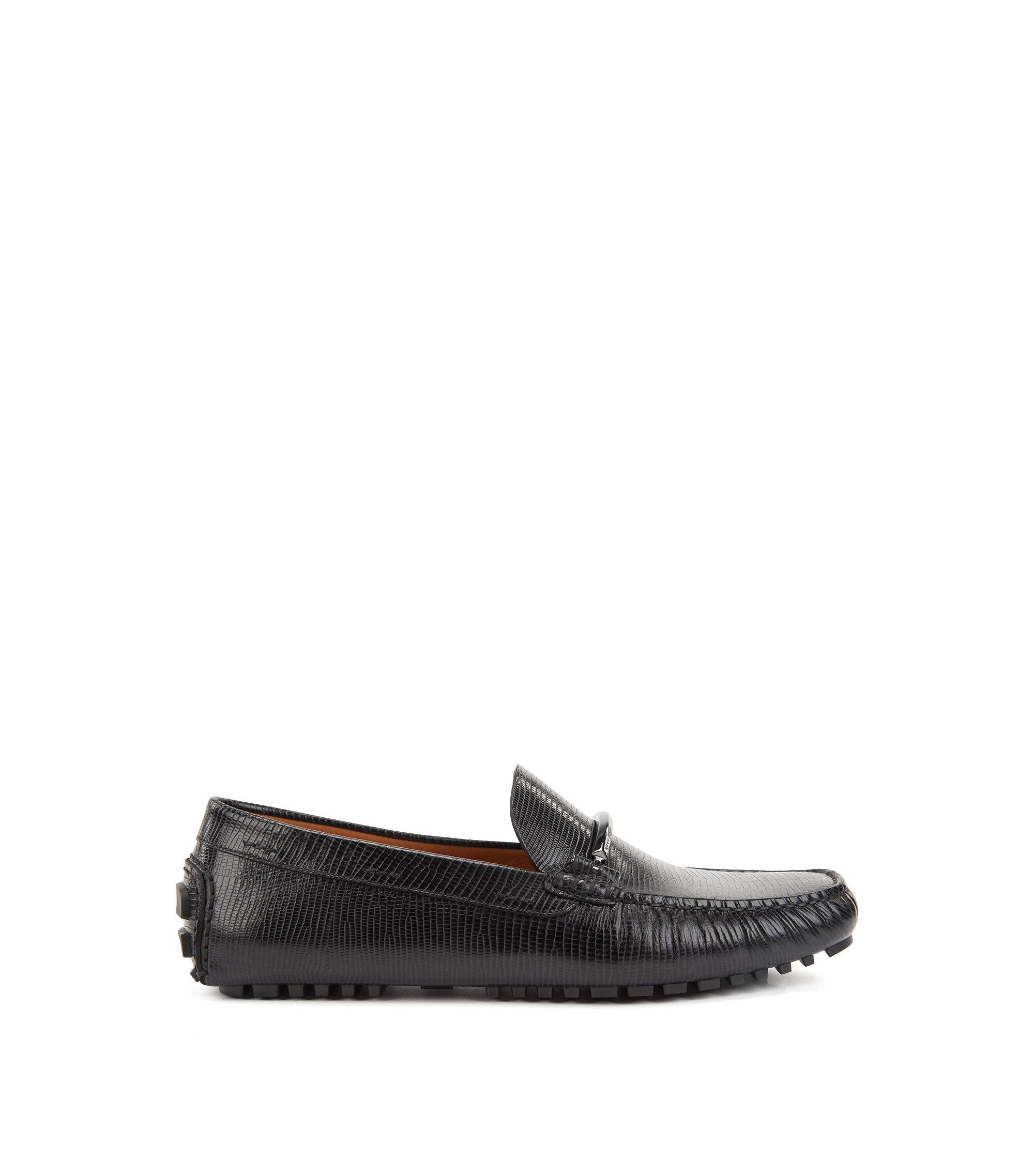 Embossed driver moccasins in calf leather with branded hardware, Black