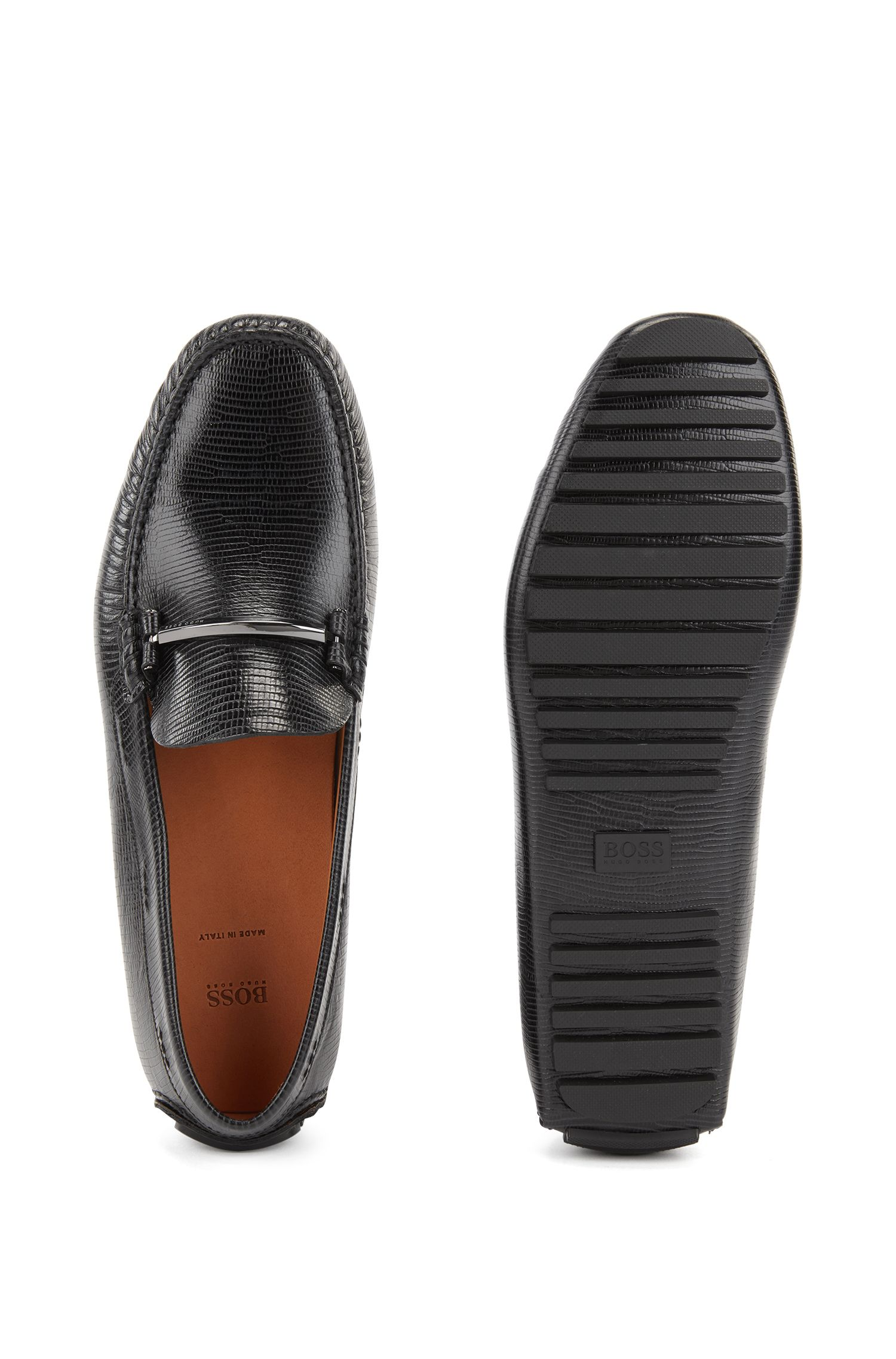 Embossed driver moccasins in calf leather with branded hardware