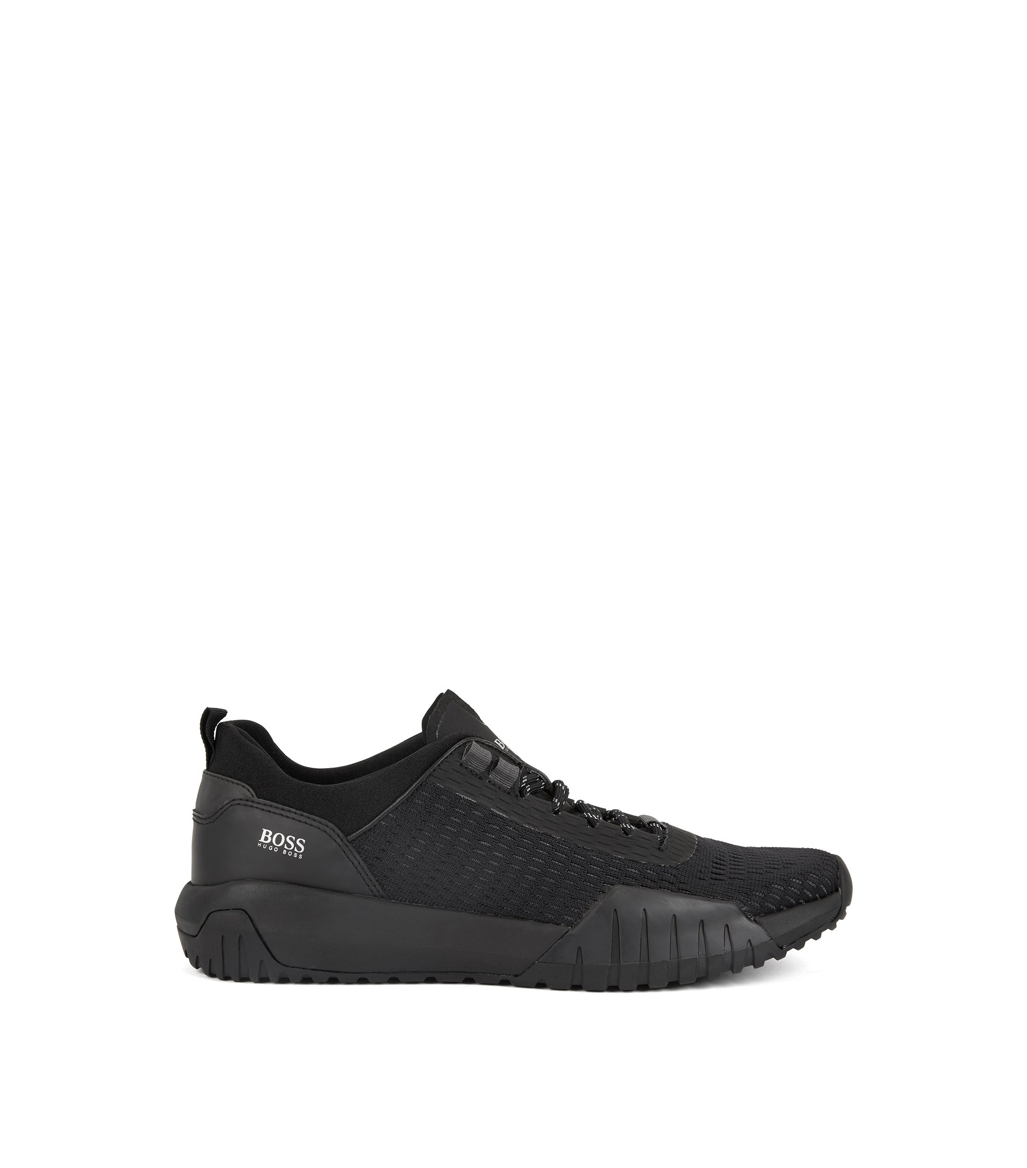 Running-inspired trainers with Strobel construction and reflective laces, Black
