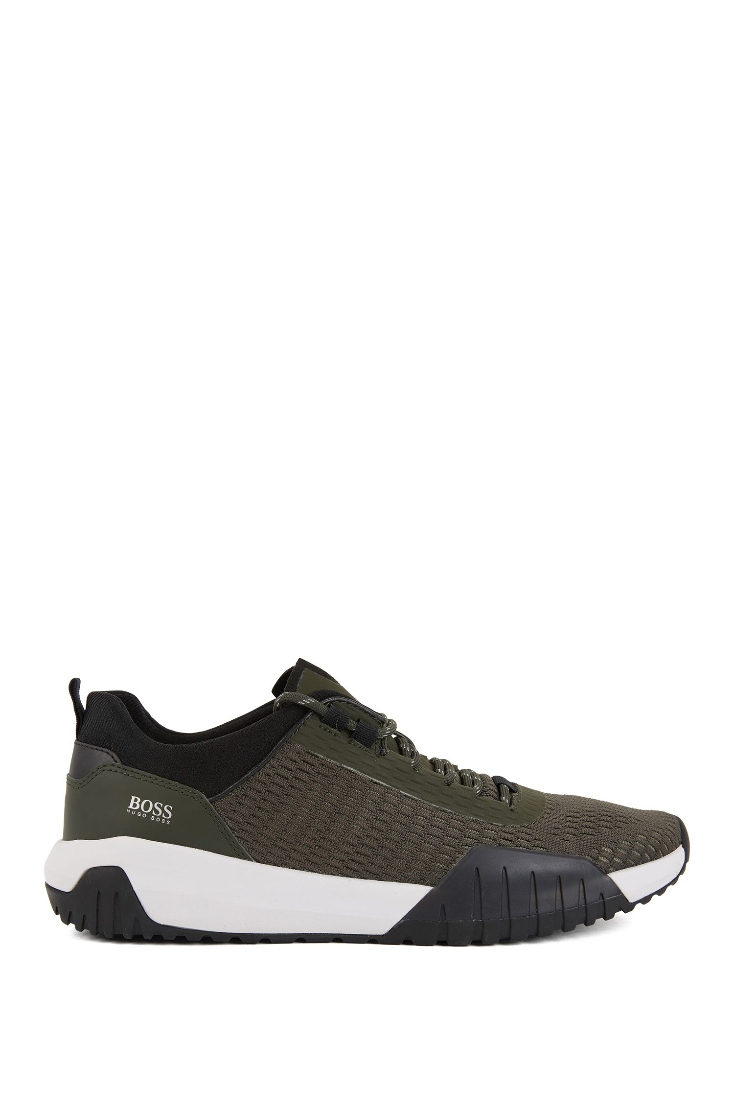 Running-inspired trainers with Strobel construction and reflective laces, Dark Green
