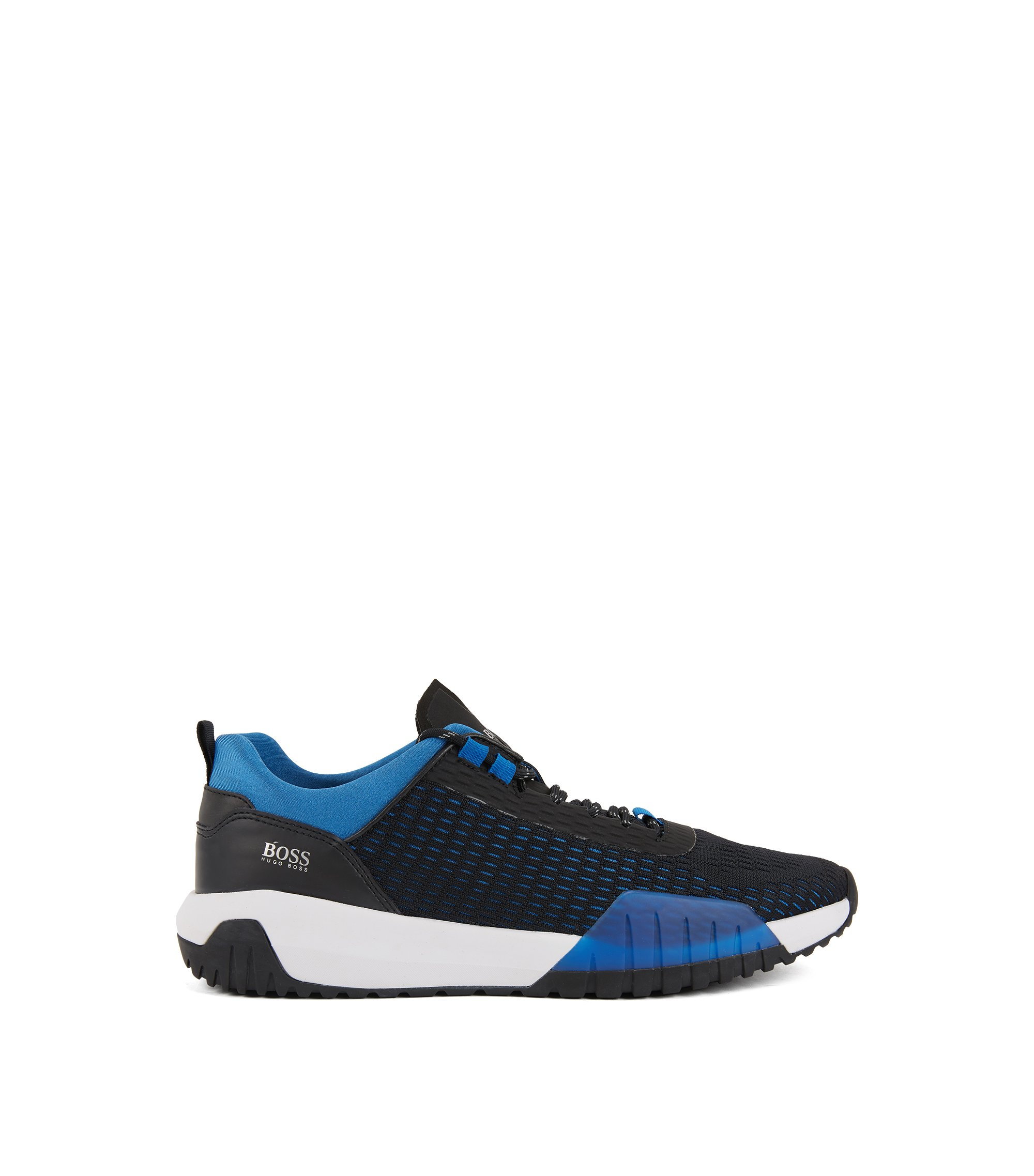 Running-inspired trainers with Strobel construction and reflective laces, Dark Blue