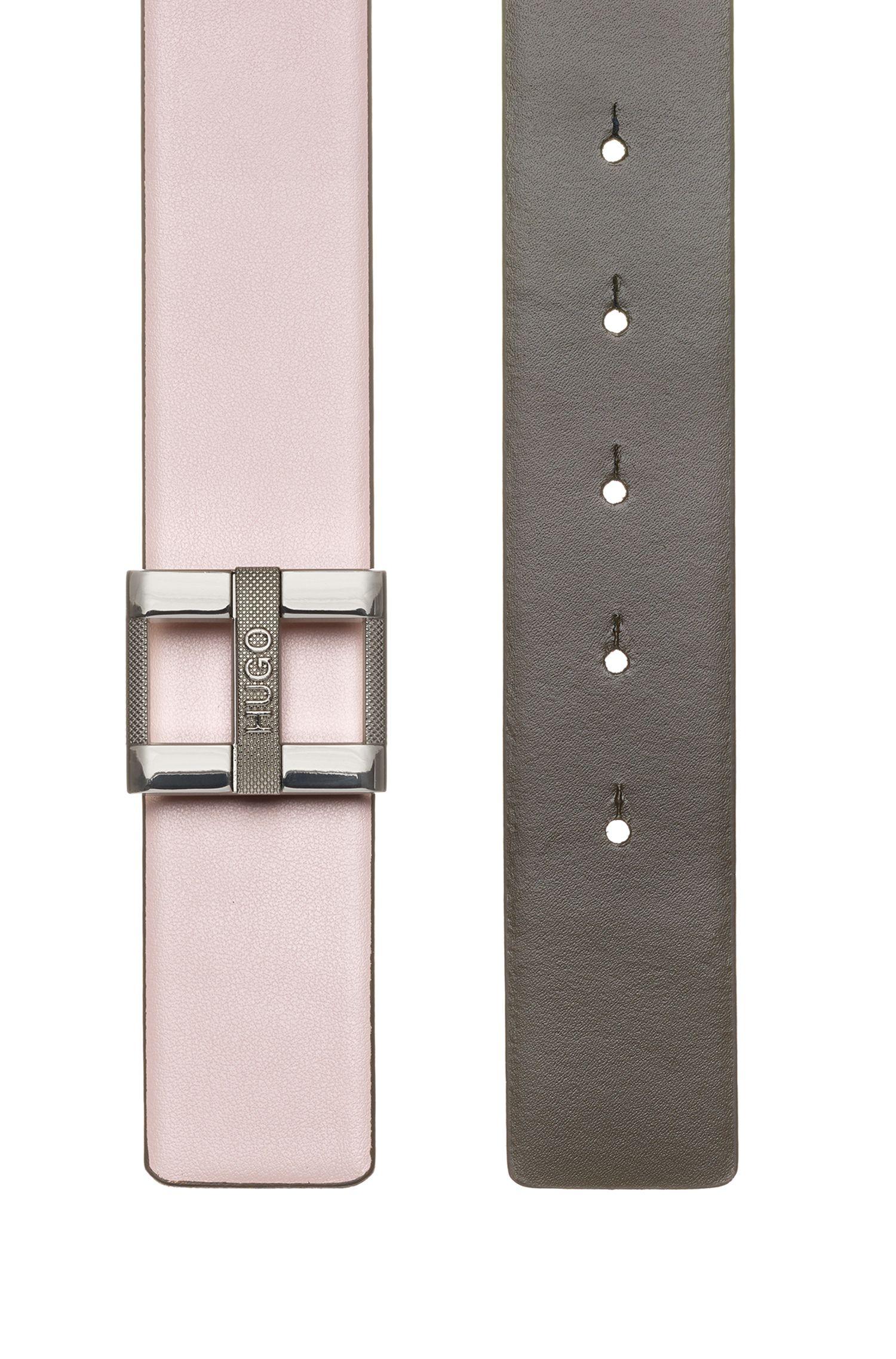 Cintura in pelle di vitello con fibbia ad H effetto argento lucido, Beige chiaro
