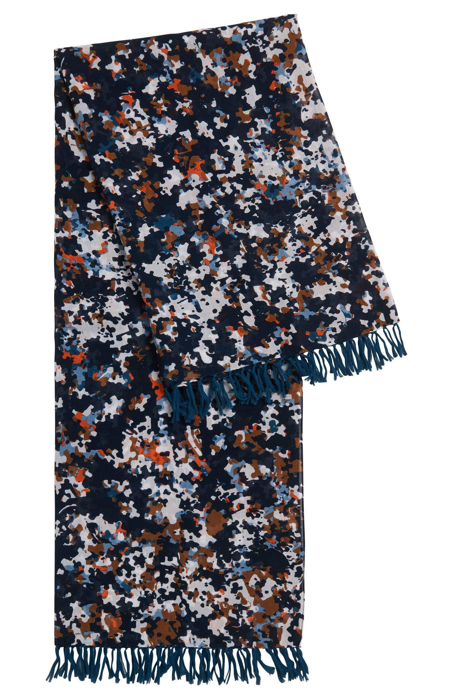 Puzzle-print scarf in a lightweight cotton blend