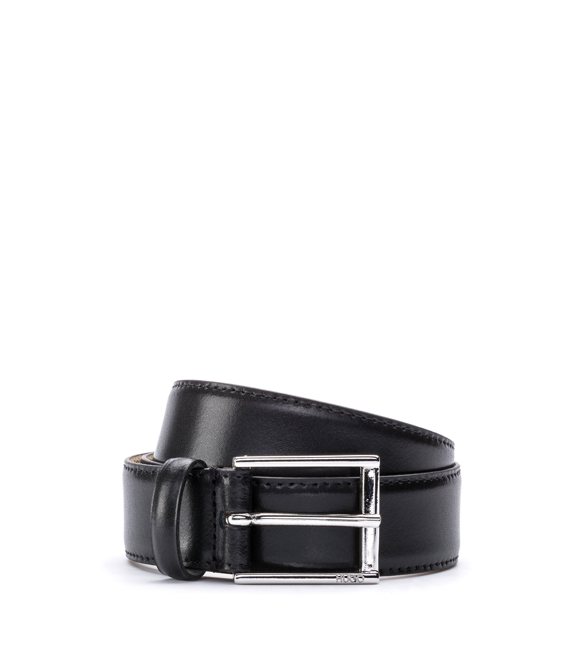 Leather belt with stitching detail and polished hardware, Black