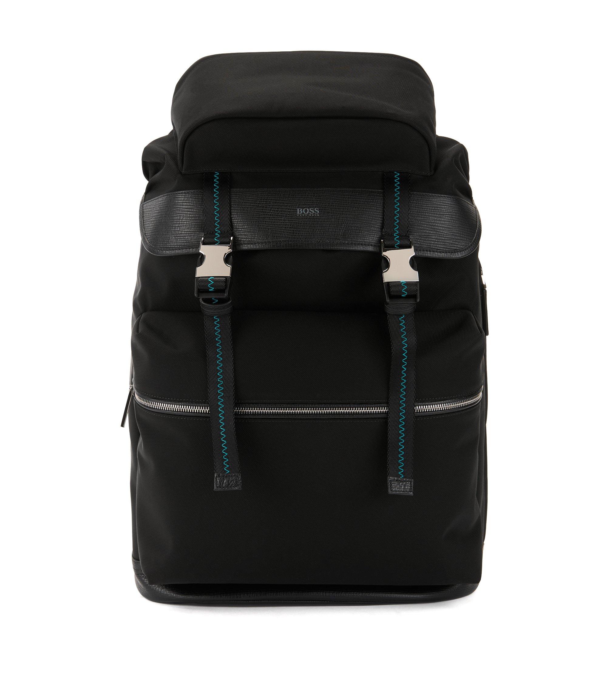 Backpack with buckle closure and Italian-leather trims, Black