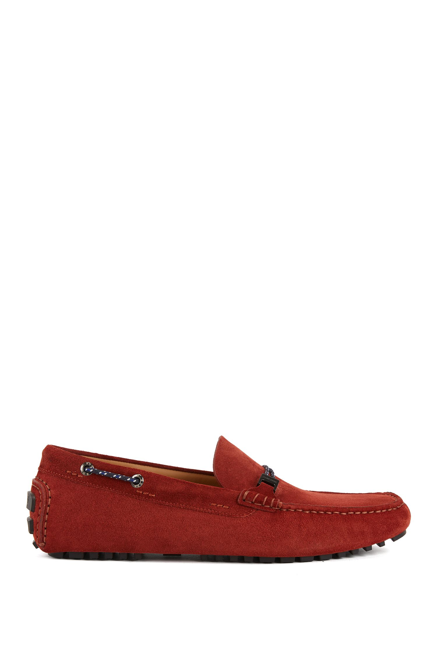 Italian-made suede moccasins with woven cord