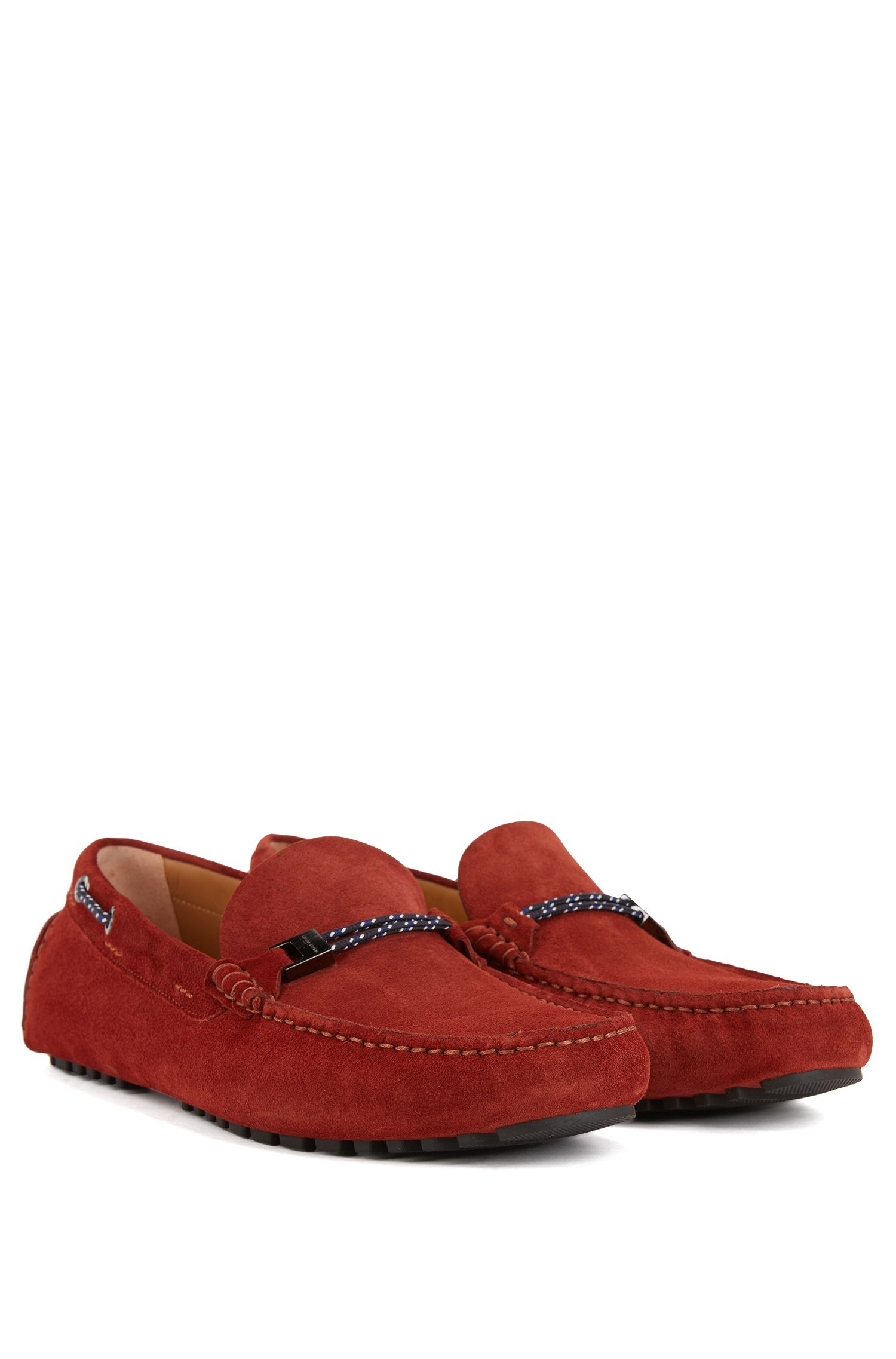 Italian-made suede moccasins with woven cord, Dark Red