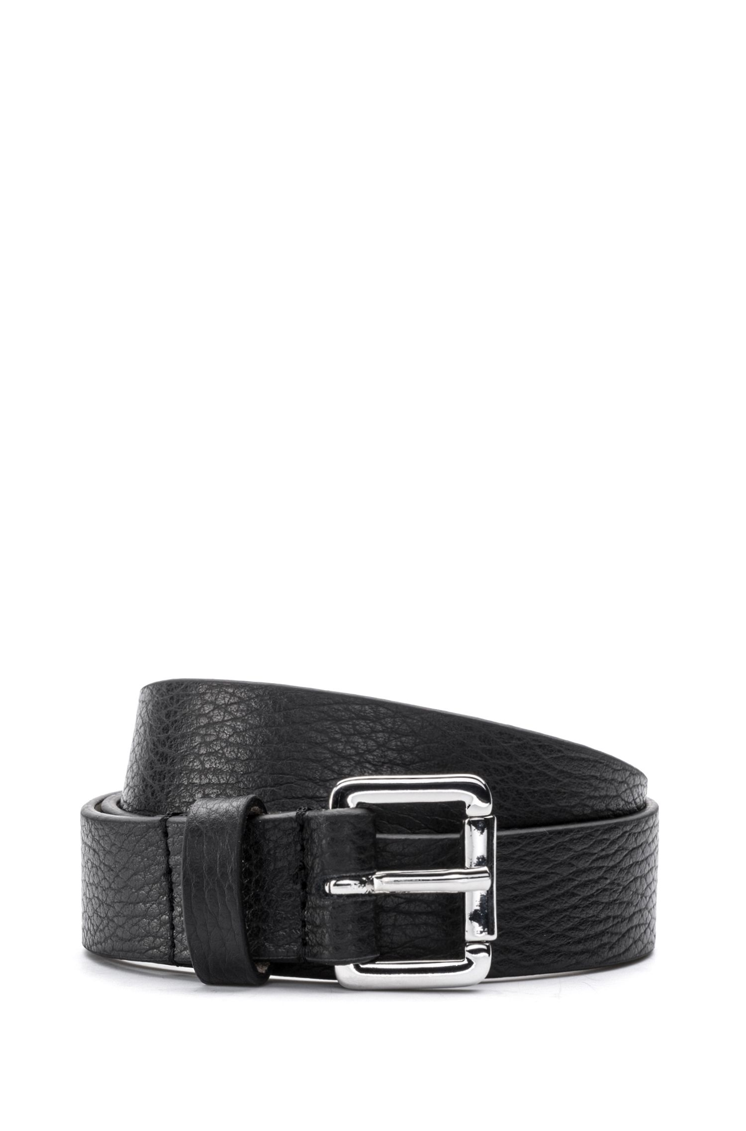 Italian-leather belt with polished buckle, Black