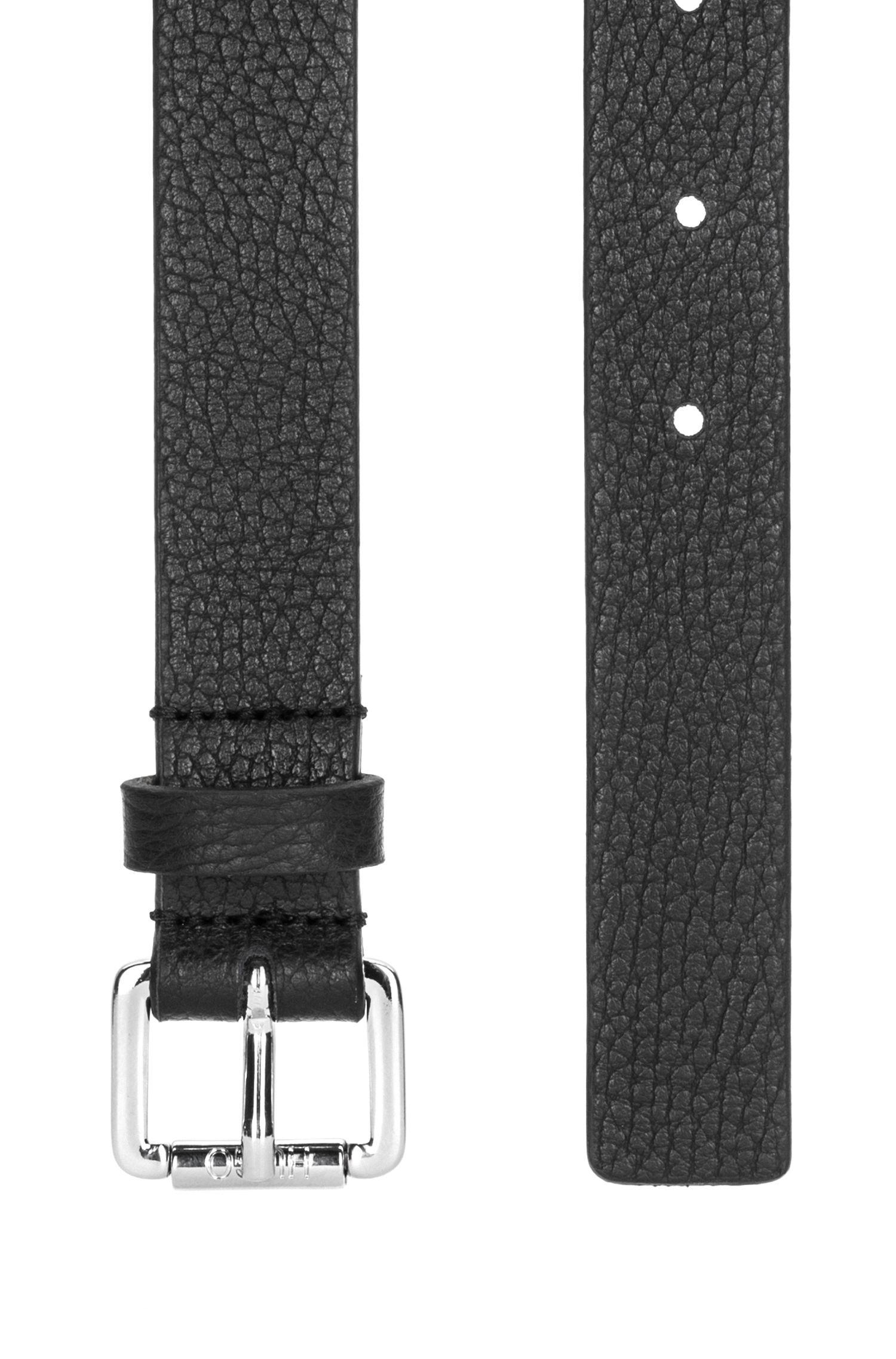 Gürtel aus italienischem Leder mit polierter Schließe, Schwarz