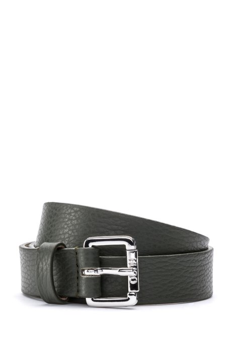 Italian-leather belt with polished buckle, Green