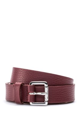 Italian-leather belt with polished buckle, Dark Red