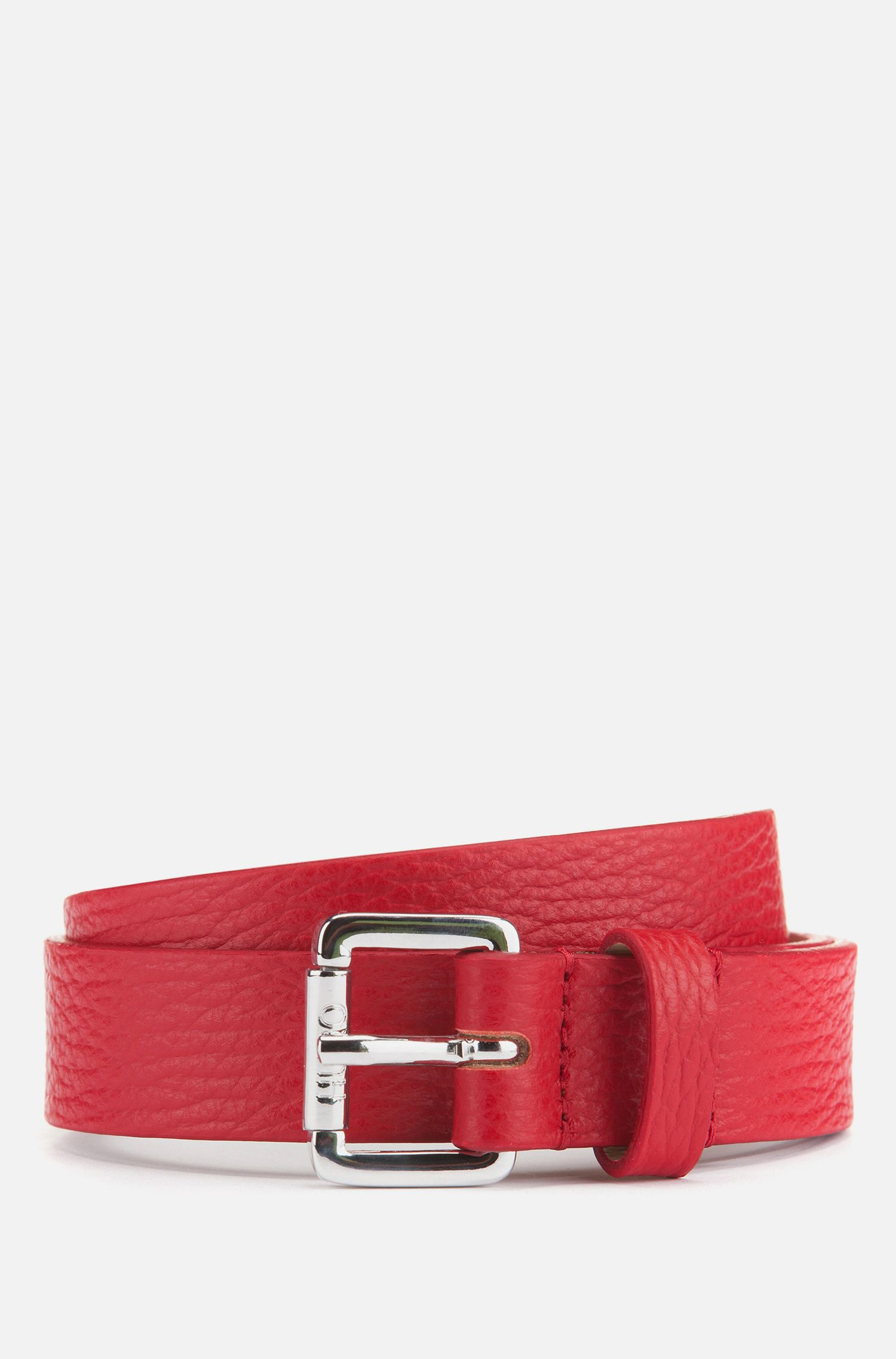 Italian-leather belt with polished buckle, Red