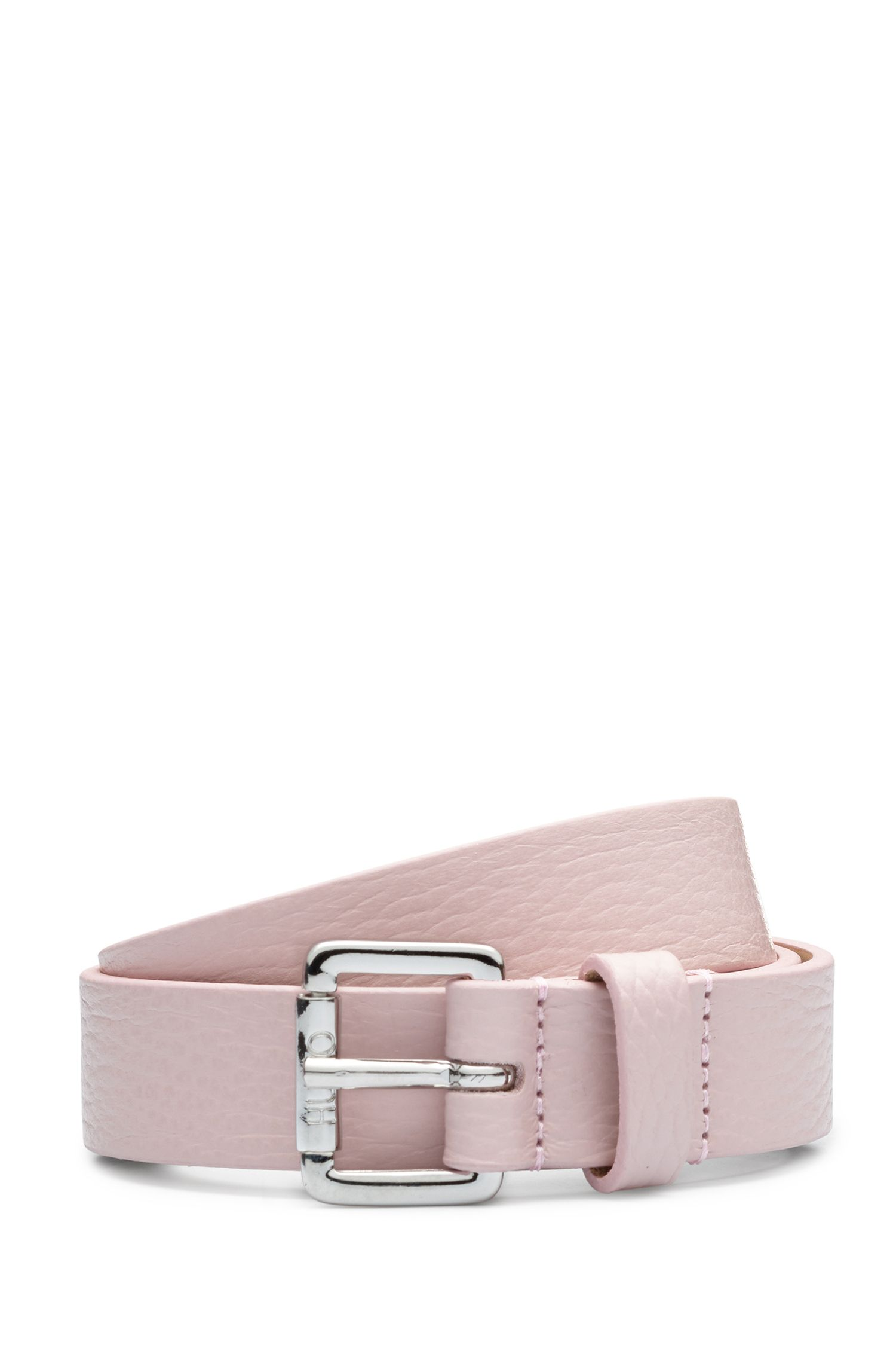 Italian-leather belt with polished buckle, light pink