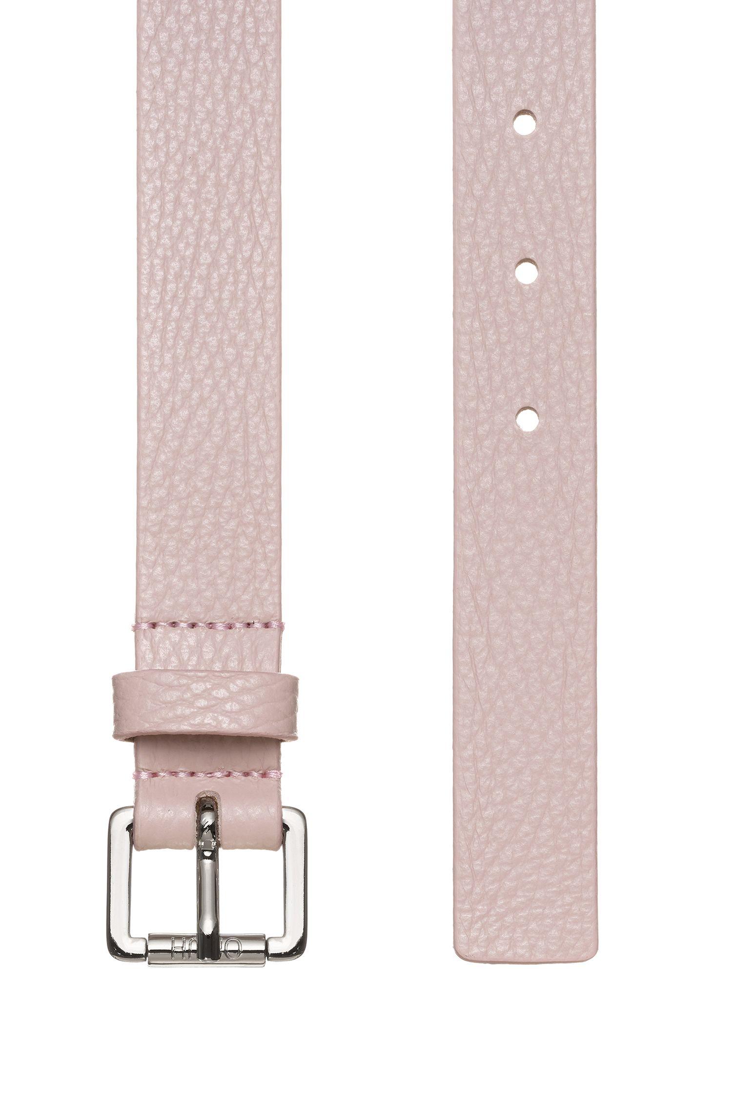 Gürtel aus italienischem Leder mit polierter Schließe, Hellrosa
