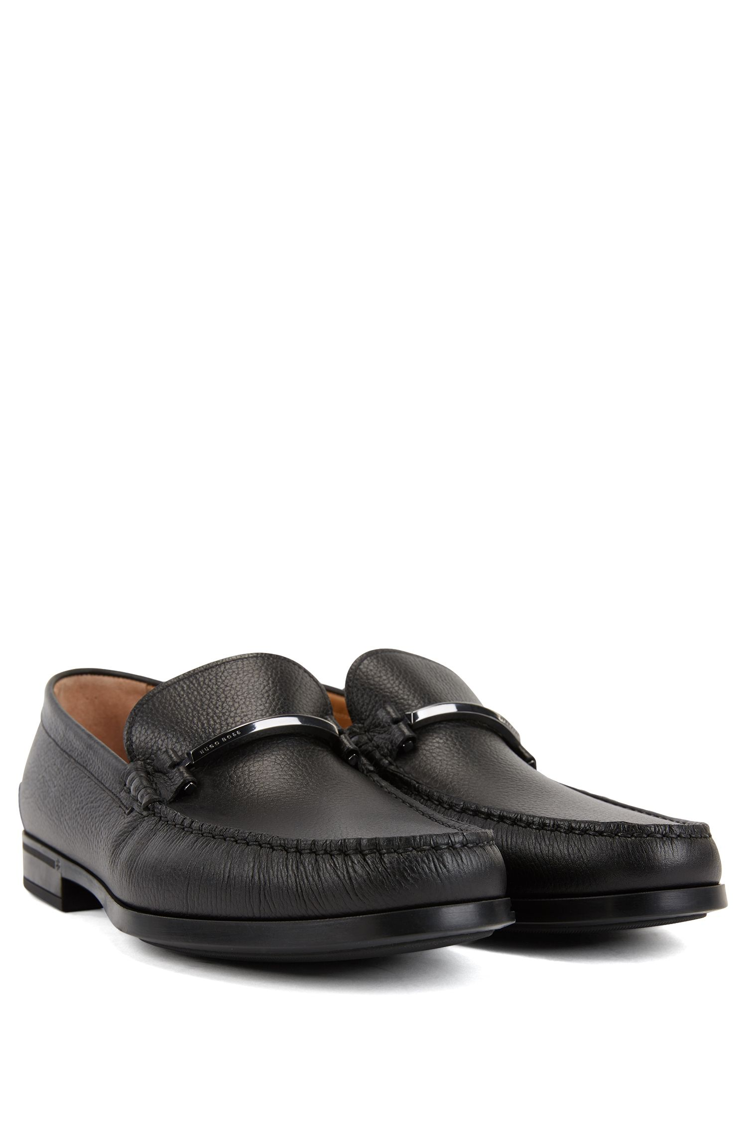 Italian-made moccasins in grainy calf leather, Black