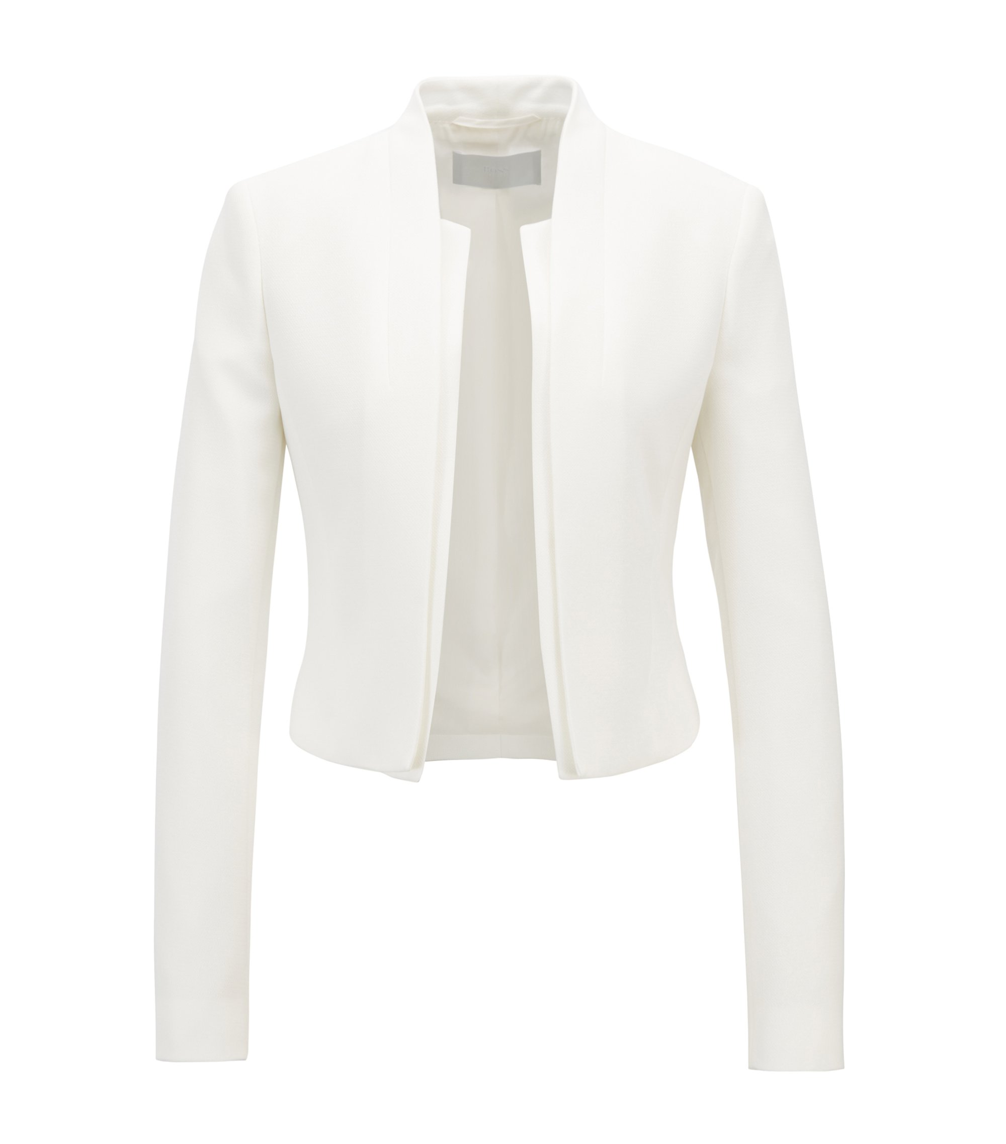 Regular-fit cropped jacket with layered effect, Natural