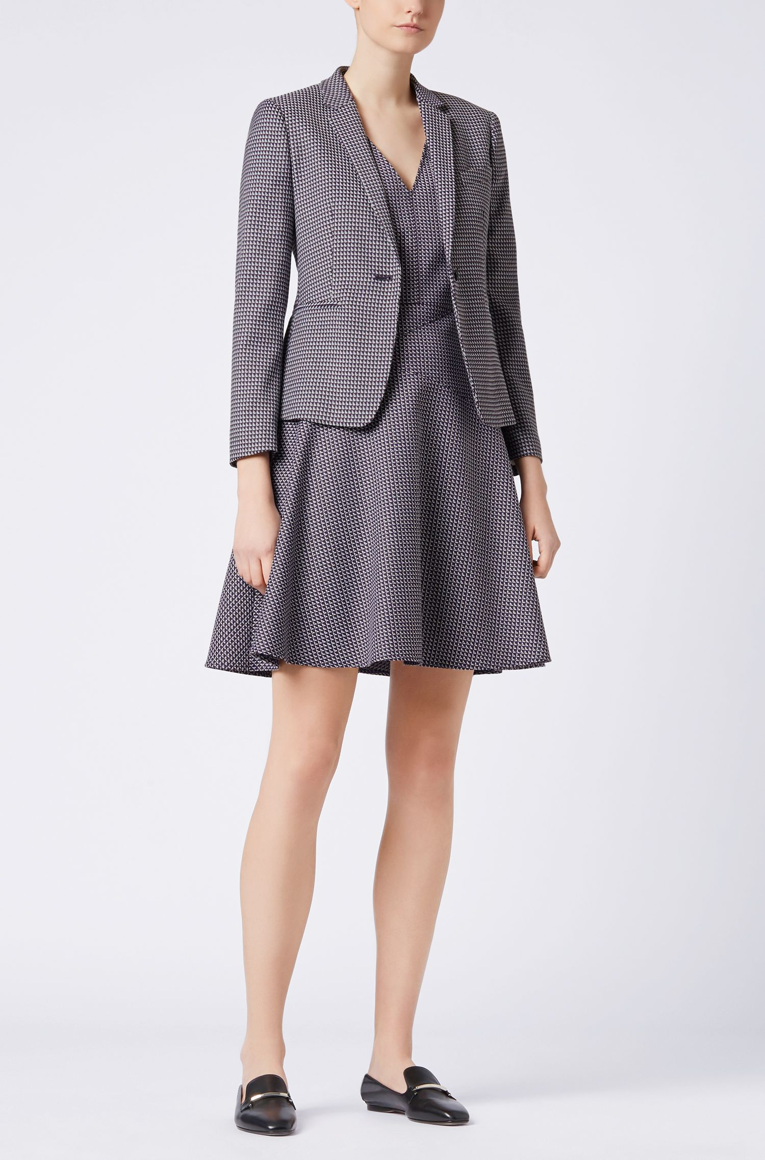 Regular-fit blazer in stretch cotton-blend jacquard, Patterned