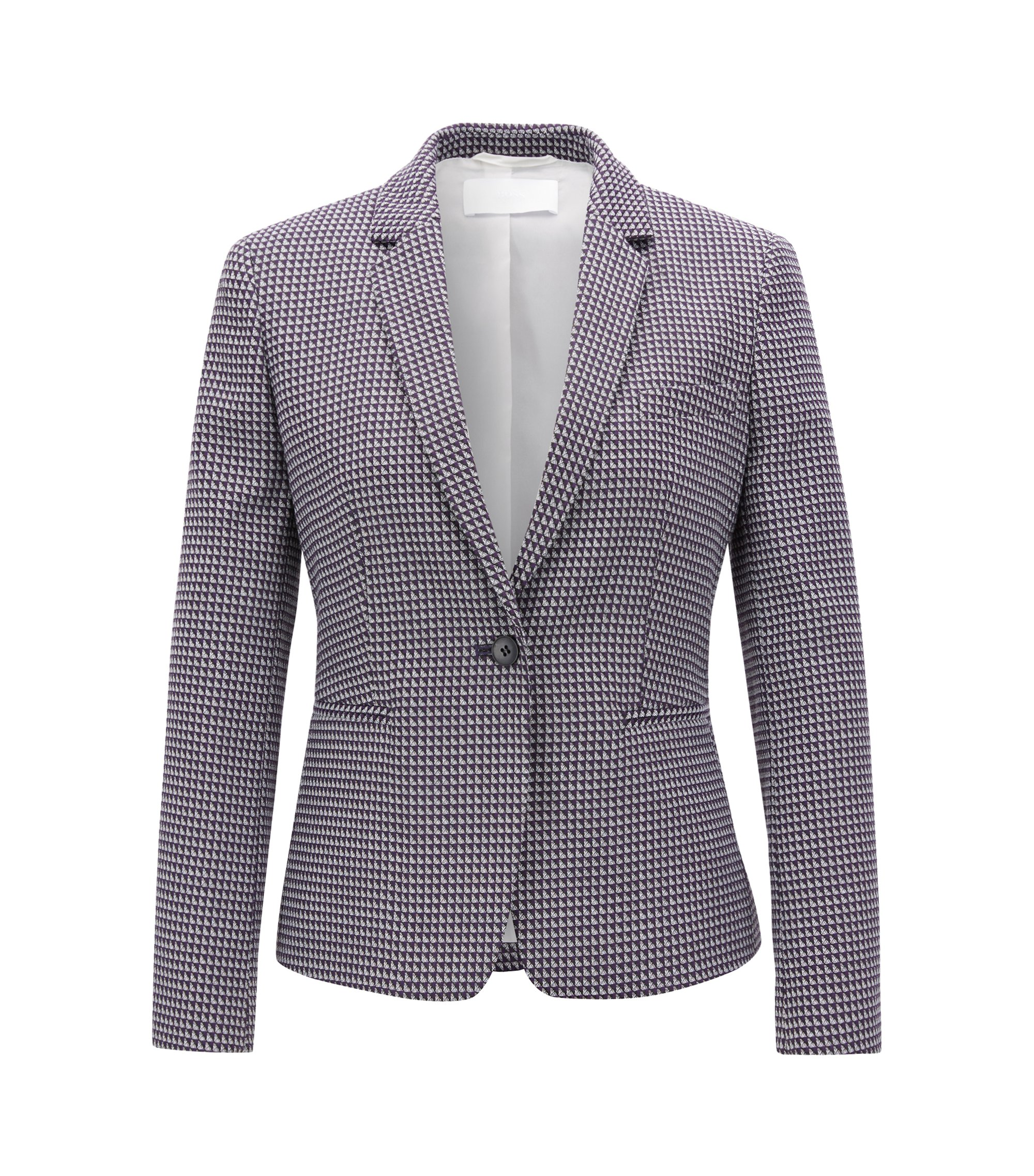 Regular-fit blazer in stretch cotton-blend jacquard, Patterned