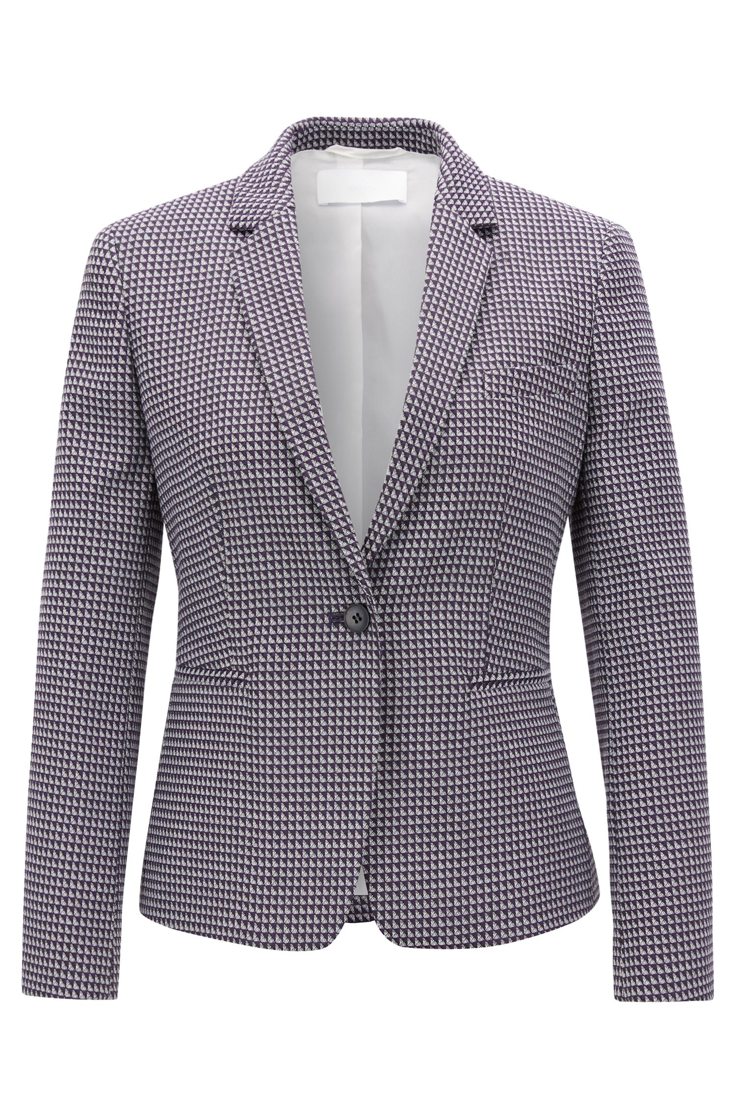 Blazer Regular Fit en jacquard de coton mélangé stretch, Fantaisie
