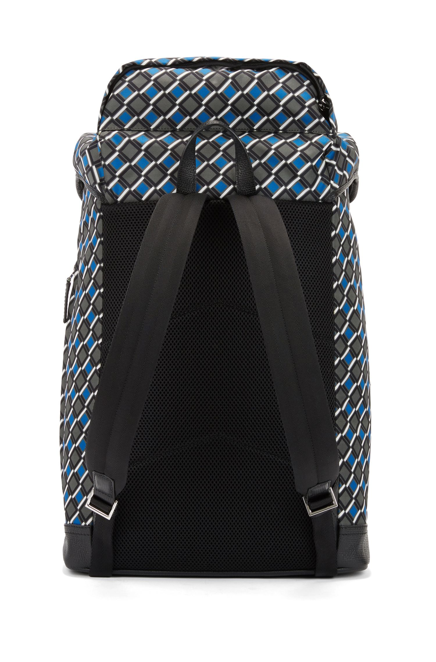 Printed backpack in nylon gabardine with calf-leather trims